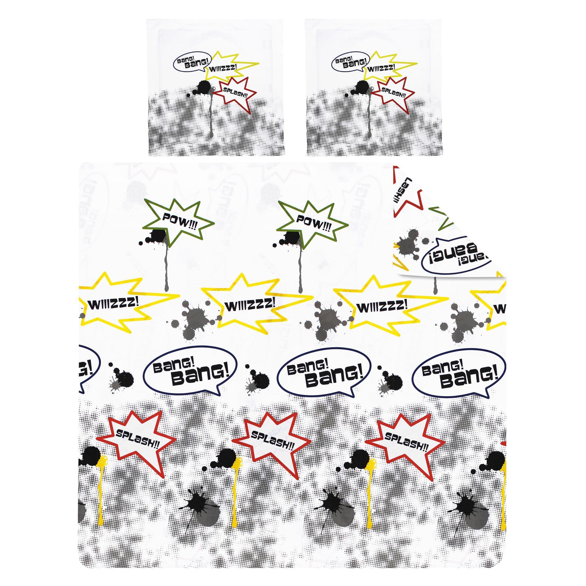 Parure de lit 200x200 cm 100 coton comics 3 pi ces for Soldes housse de couette 200x200