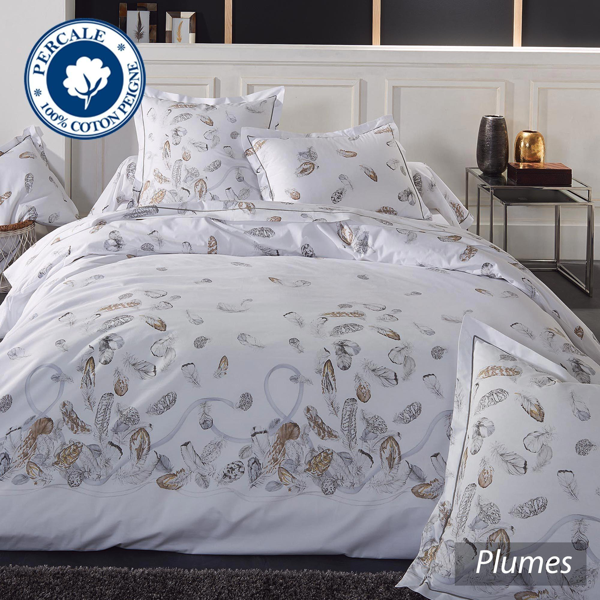 parure de lit percale pur coton peign 200x200 cm plumes. Black Bedroom Furniture Sets. Home Design Ideas