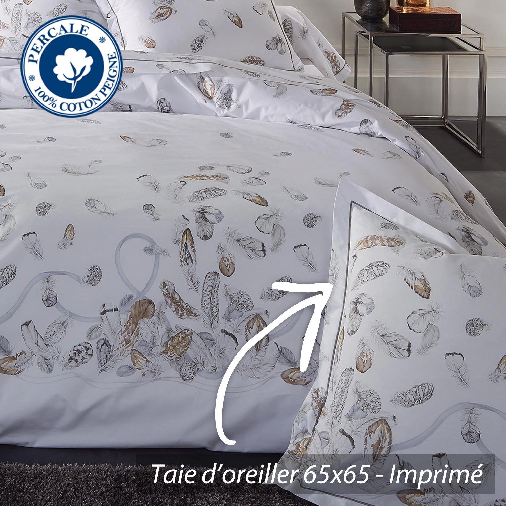 parure de lit percale pur coton peign 200x200 cm plumes. Black Bedroom Furniture Sets. Home Design Ideas