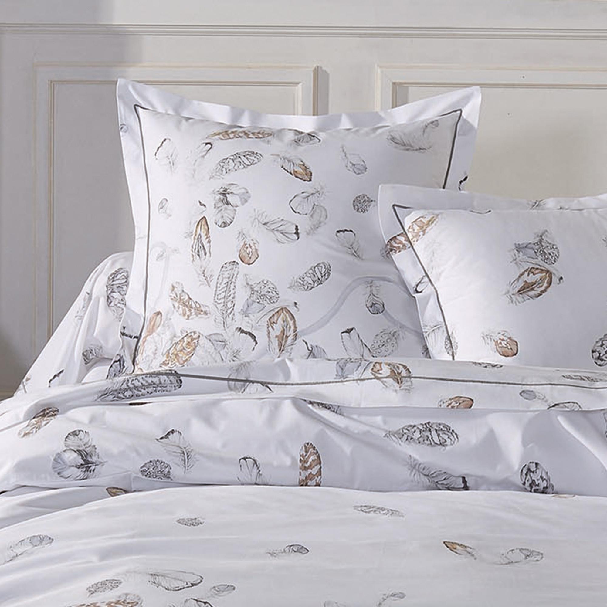parure de lit percale pur coton peign 200x200 cm plumes linnea linge de maison et. Black Bedroom Furniture Sets. Home Design Ideas