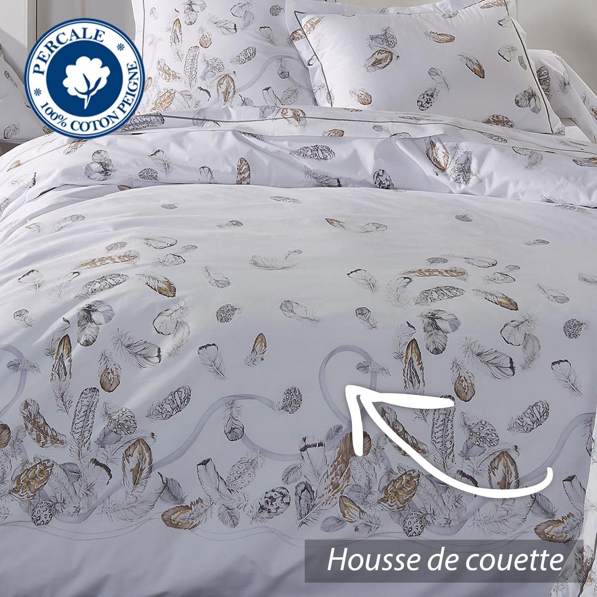 parure de lit percale pur coton peign 260x240 cm plumes linnea vente de linge de maison. Black Bedroom Furniture Sets. Home Design Ideas