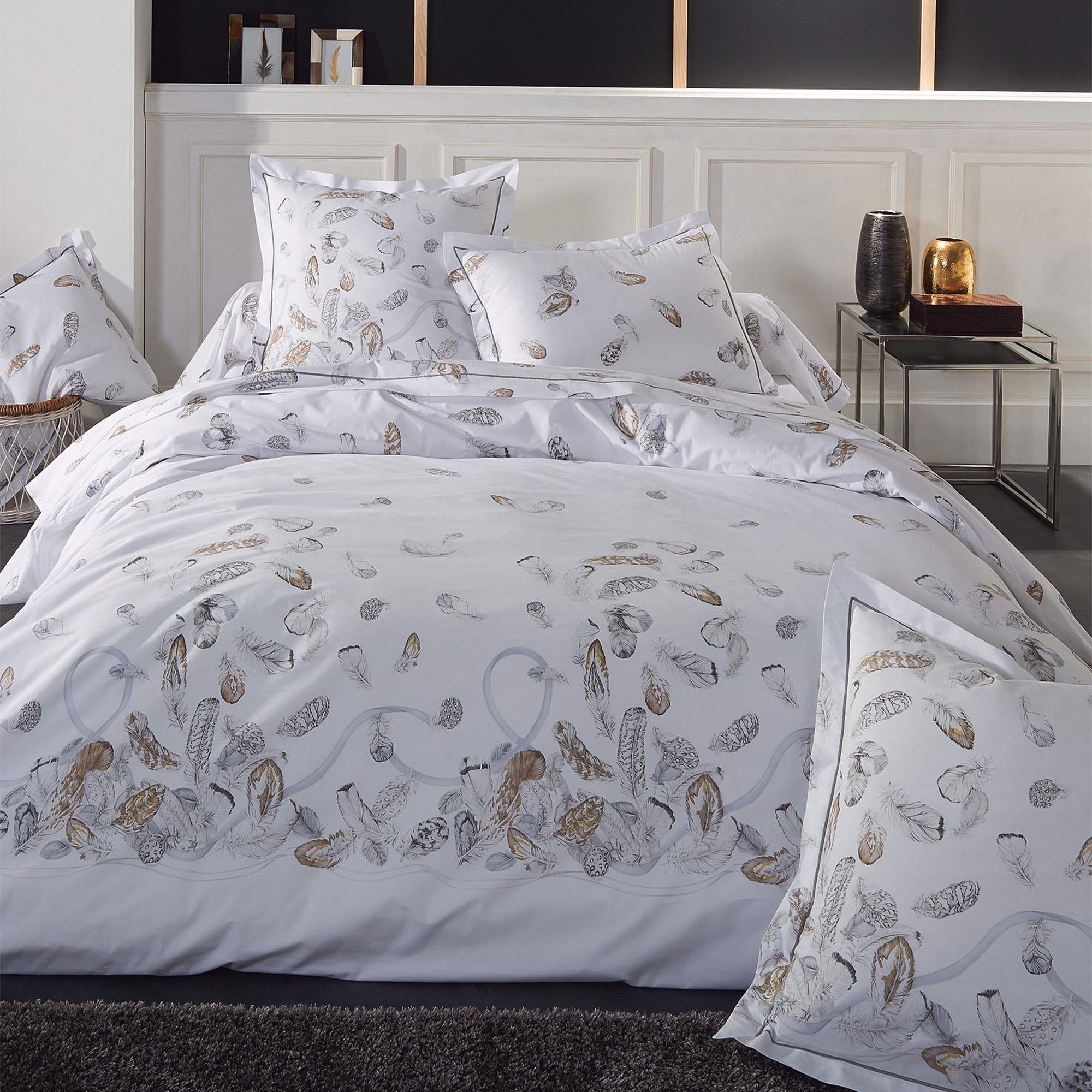 parure de lit percale pur coton peign 260x240 cm plumes linnea vente de linge de maison. Black Bedroom Furniture Sets. Home Design Ideas