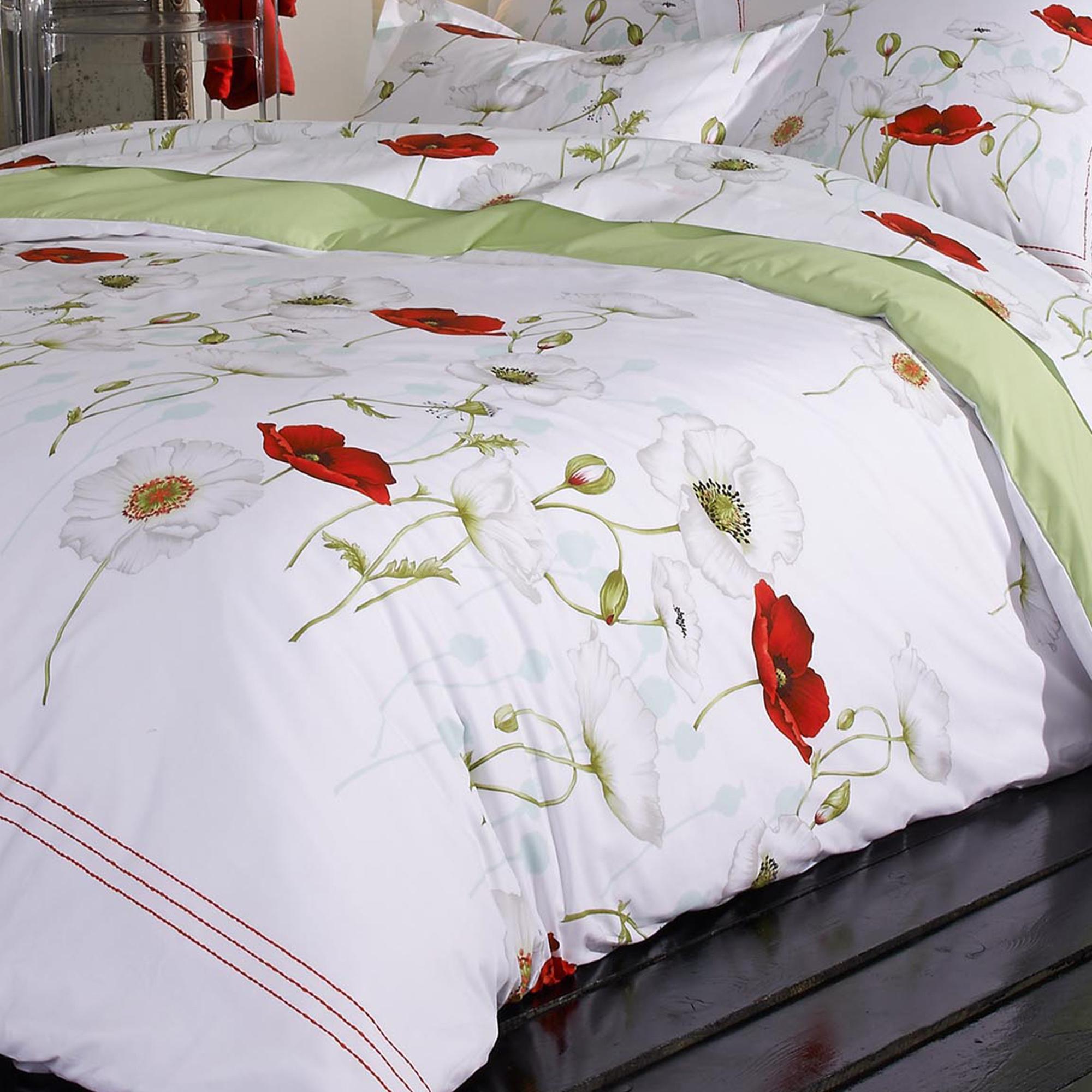 parure de lit percale pur coton peign 260x240 cm seduction linnea linge de maison et. Black Bedroom Furniture Sets. Home Design Ideas