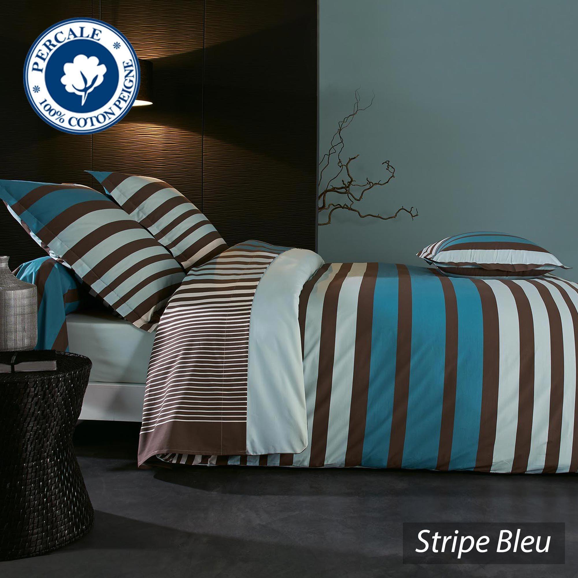 parure de lit percale pur coton peign 280x240 cm stripe bleu linnea vente de linge de maison. Black Bedroom Furniture Sets. Home Design Ideas