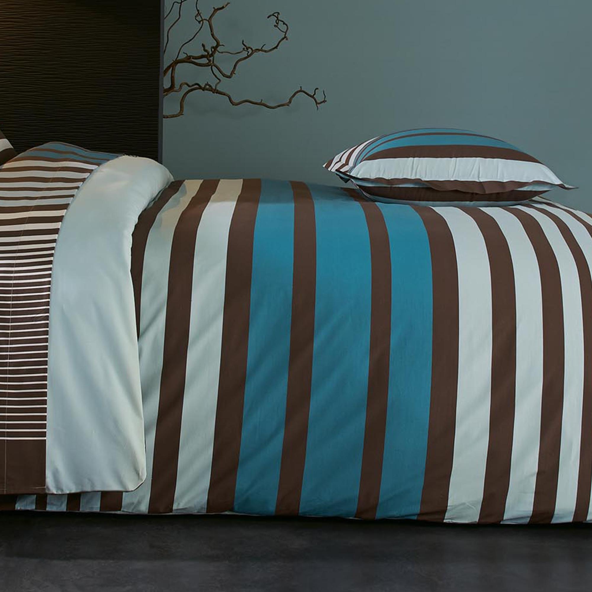 parure de lit 280x240 percale pur coton stripe bleu ebay. Black Bedroom Furniture Sets. Home Design Ideas