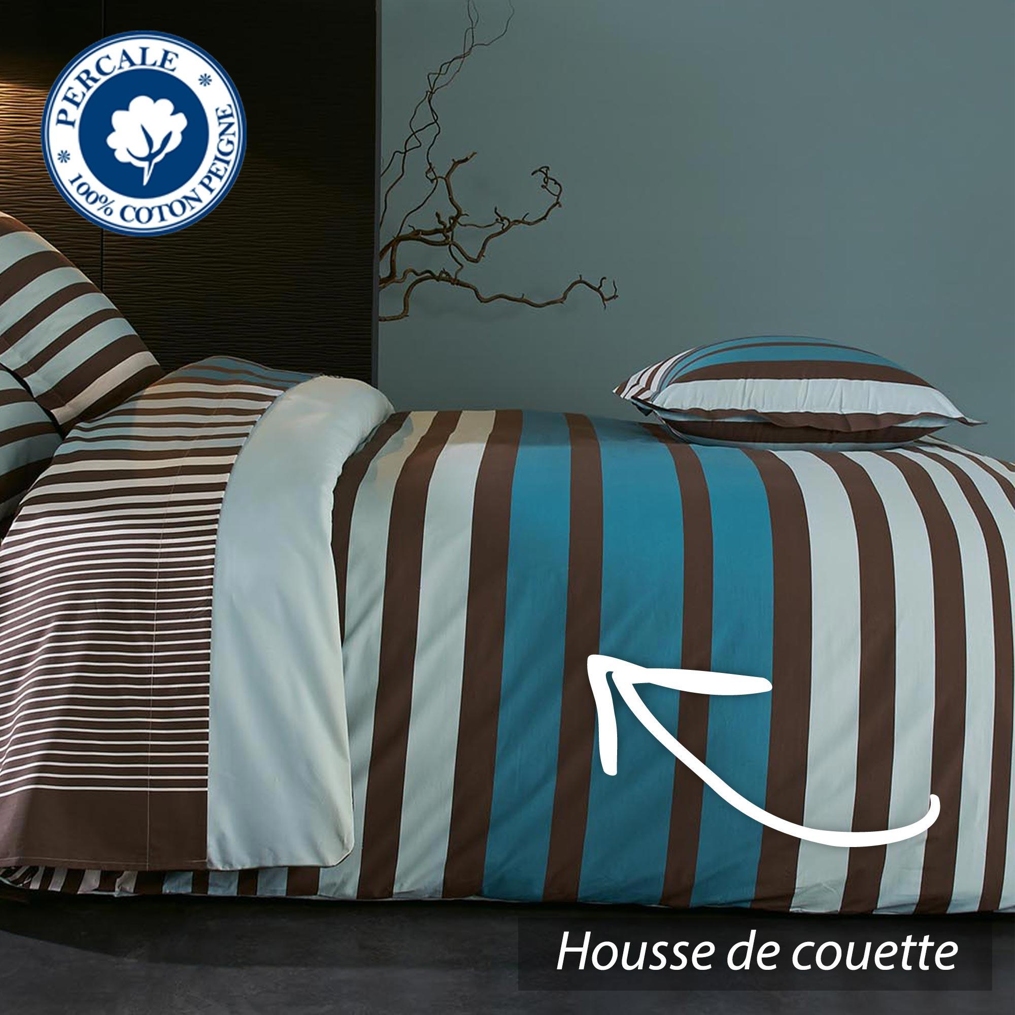 parure de lit percale pur coton peign 280x240 cm stripe. Black Bedroom Furniture Sets. Home Design Ideas