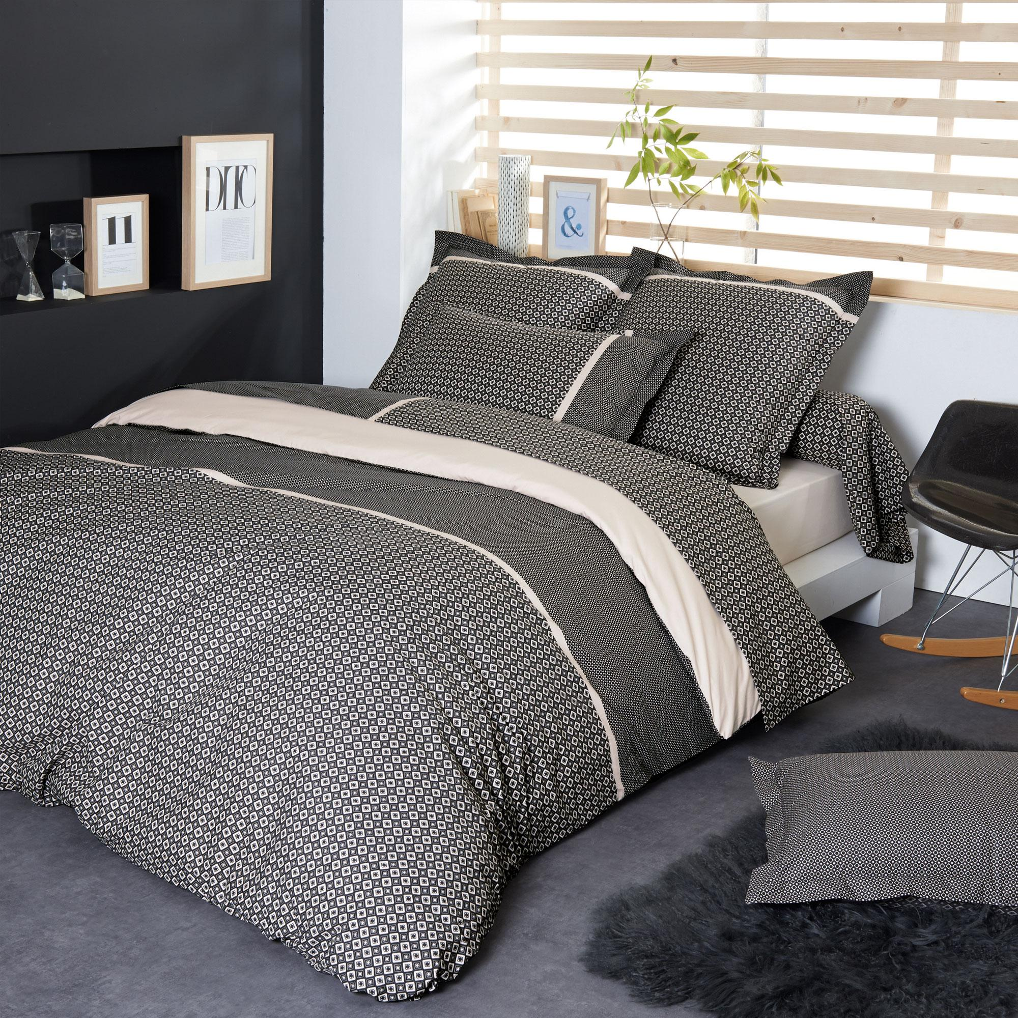 parure de lit percale pur coton peign 300x240 cm gatsby linnea linge de maison et. Black Bedroom Furniture Sets. Home Design Ideas