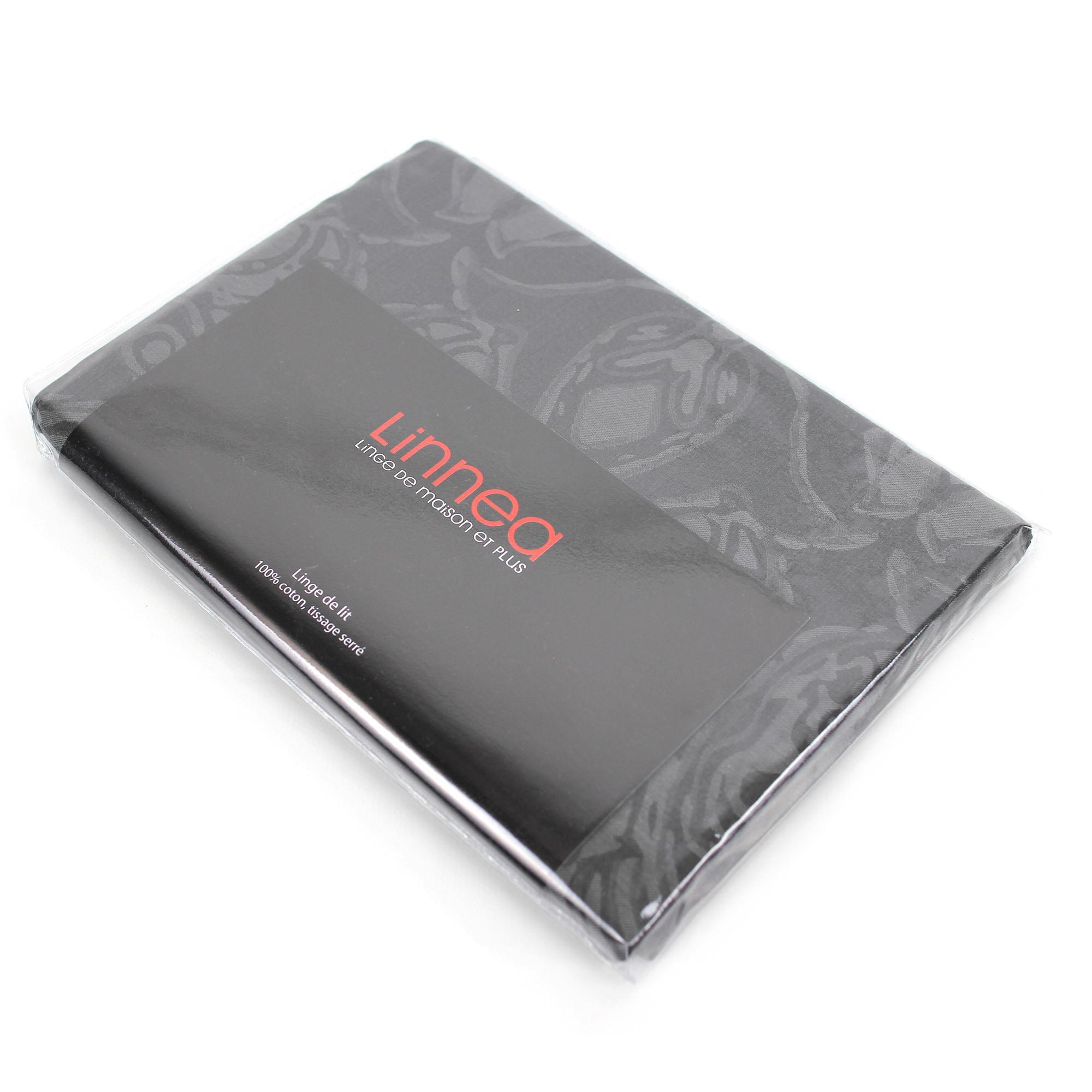 Parure de lit 240x220 satin de coton vosges gris fonc ebay - Parure de lit en satin de coton ...