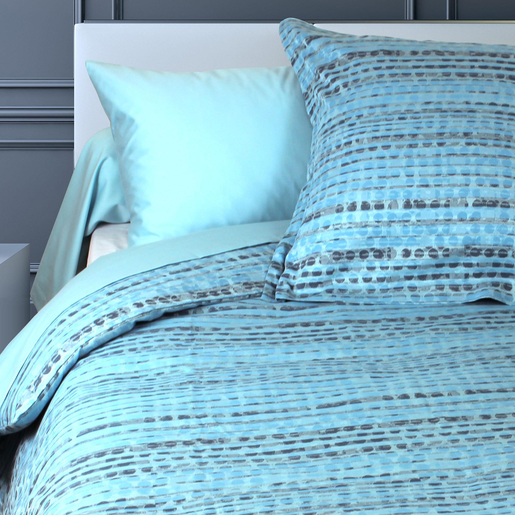 parure de lit 260x240 satin de coton louvre bleu clair ebay. Black Bedroom Furniture Sets. Home Design Ideas
