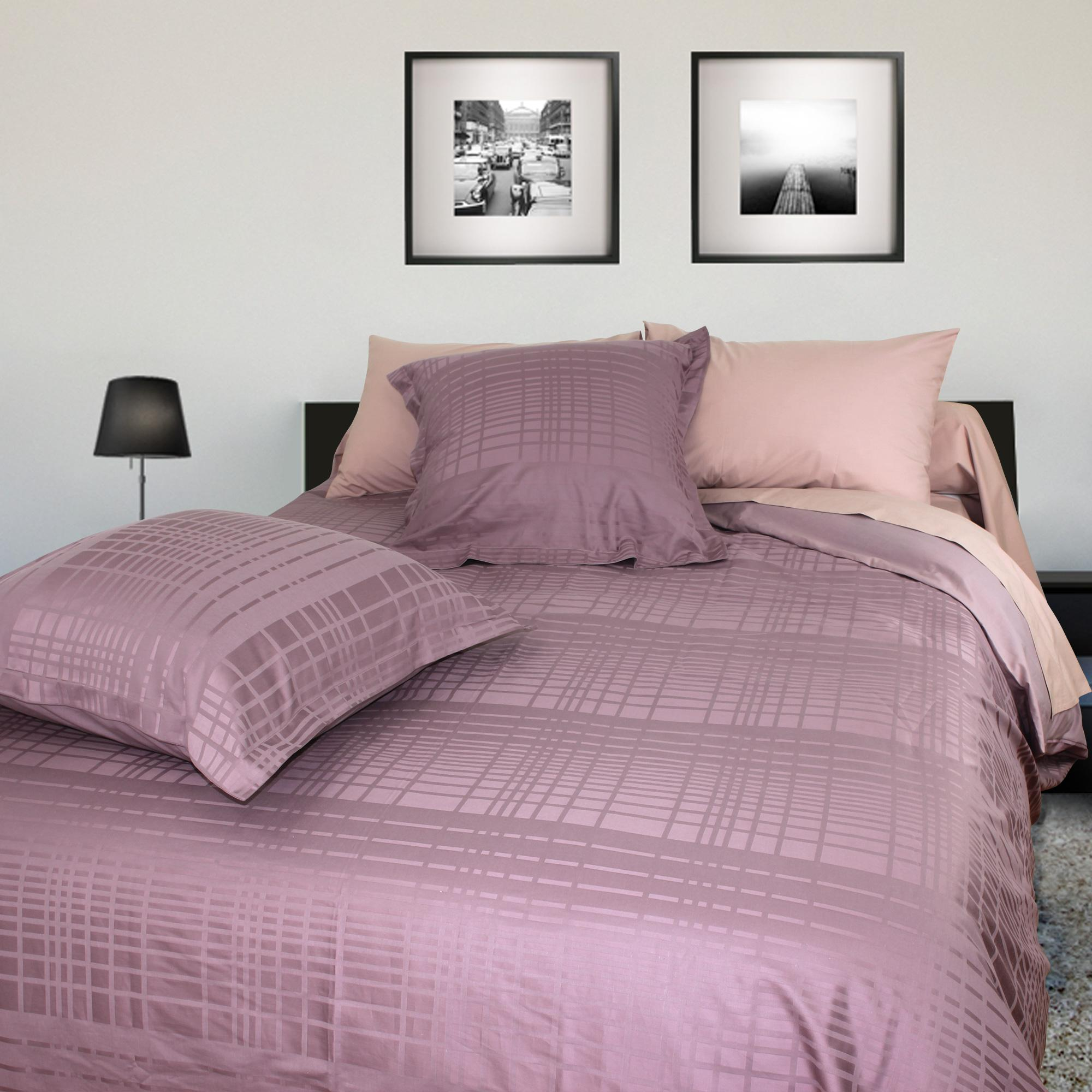 parure de lit 260x240 satin de coton pigalle violet ebay. Black Bedroom Furniture Sets. Home Design Ideas