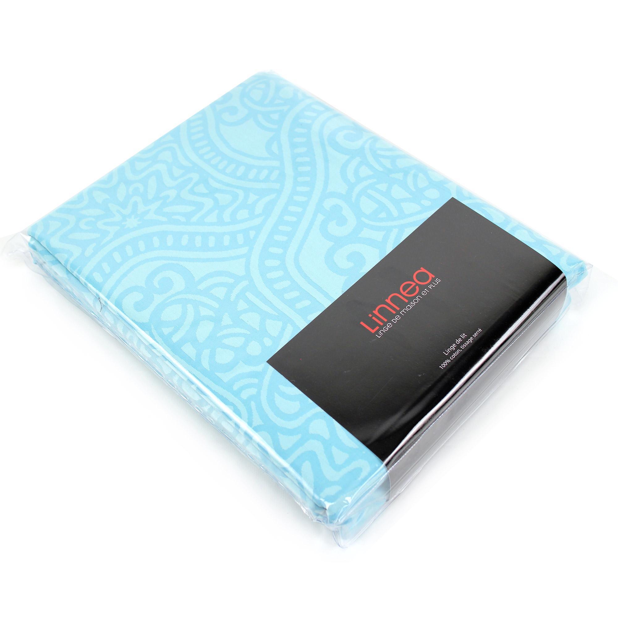 parure de lit 300x240 satin de coton pantheon bleu clair. Black Bedroom Furniture Sets. Home Design Ideas