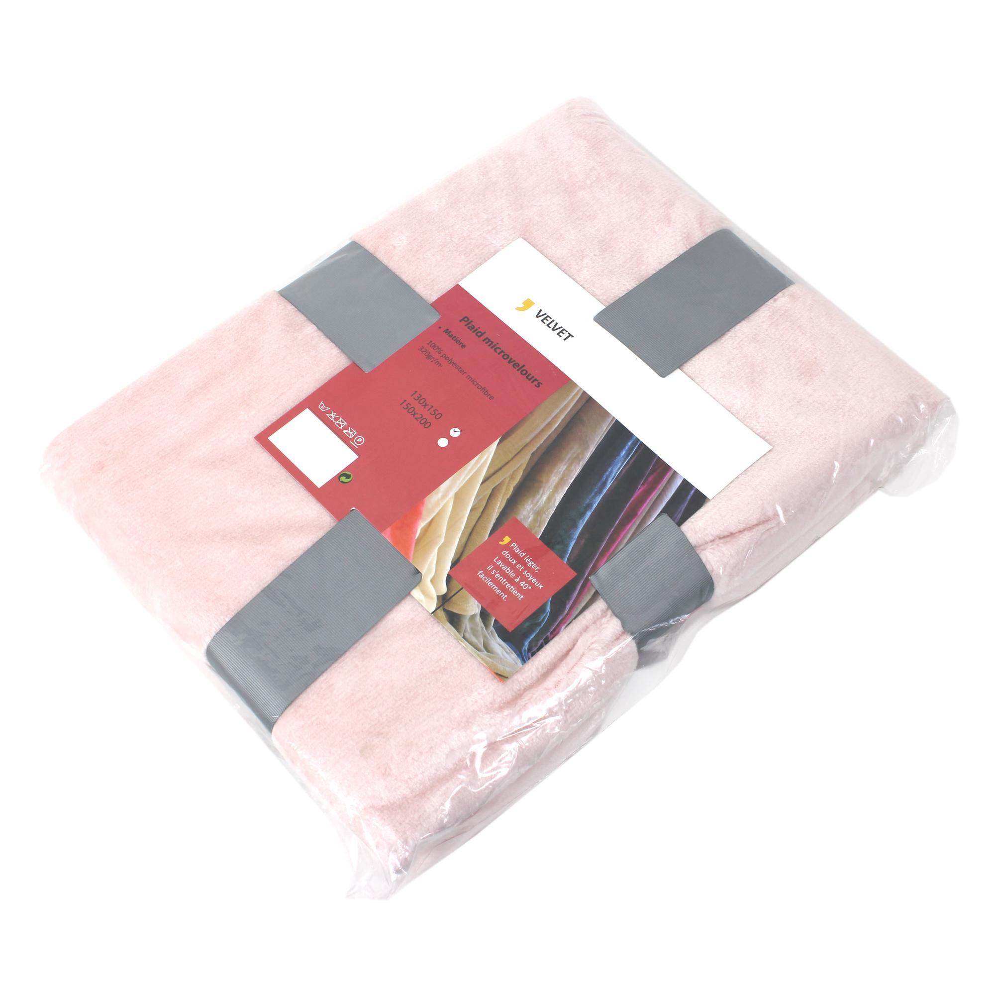 plaid polaire microvelours 130x150 cm velvet rose poudre rose 100 polyester 320 g m2 traitement. Black Bedroom Furniture Sets. Home Design Ideas