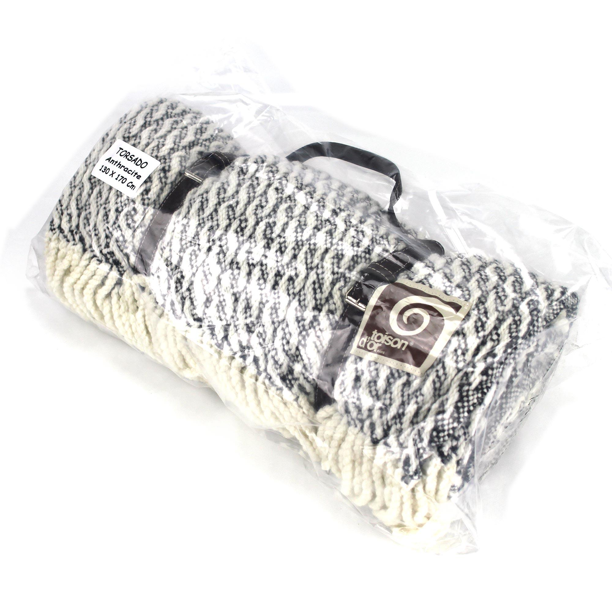 plaid torsado 130x170 cm laine lambswool 600 g m2. Black Bedroom Furniture Sets. Home Design Ideas