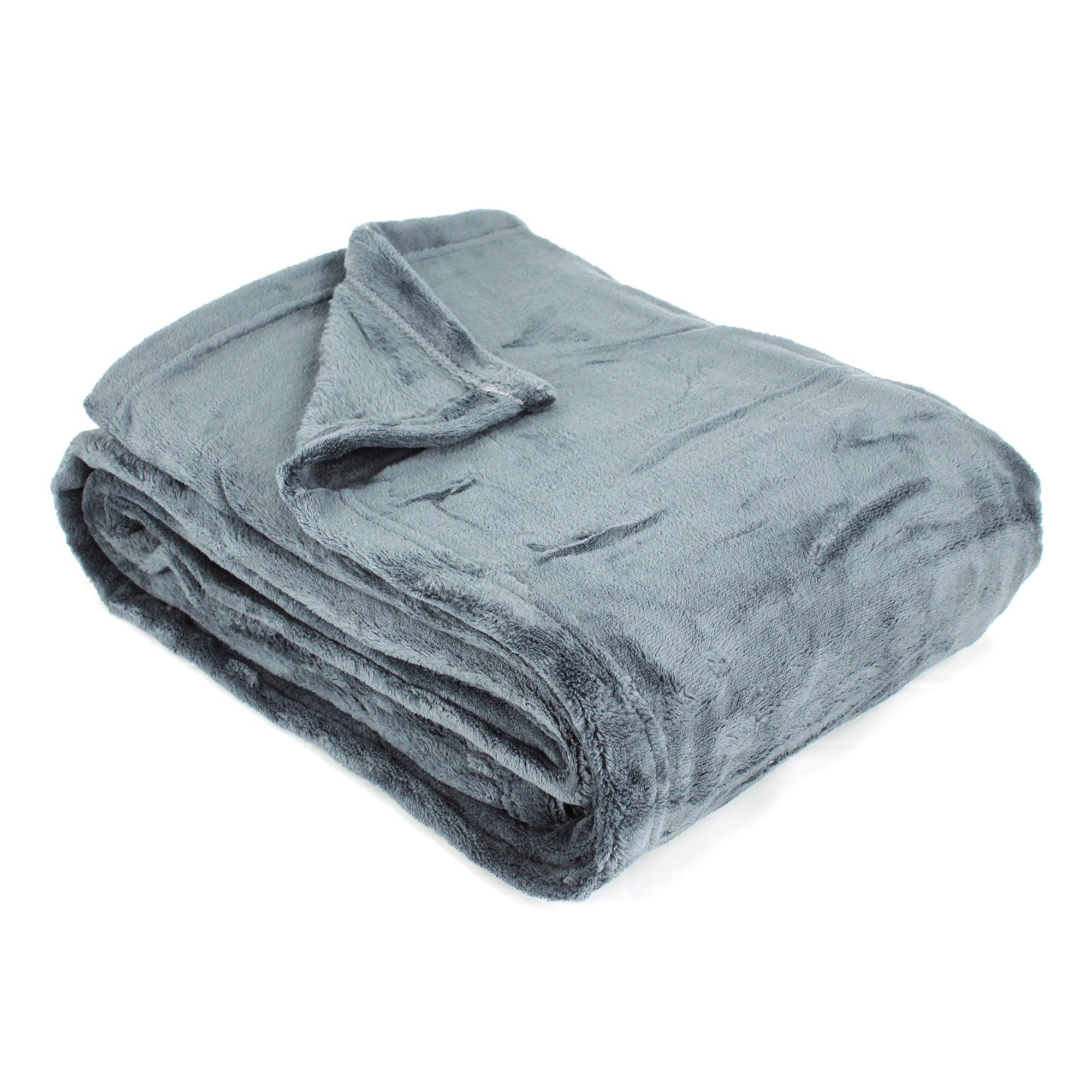 plaid polaire 130x170 microfibre 280g m2 apollo gris acier ebay. Black Bedroom Furniture Sets. Home Design Ideas