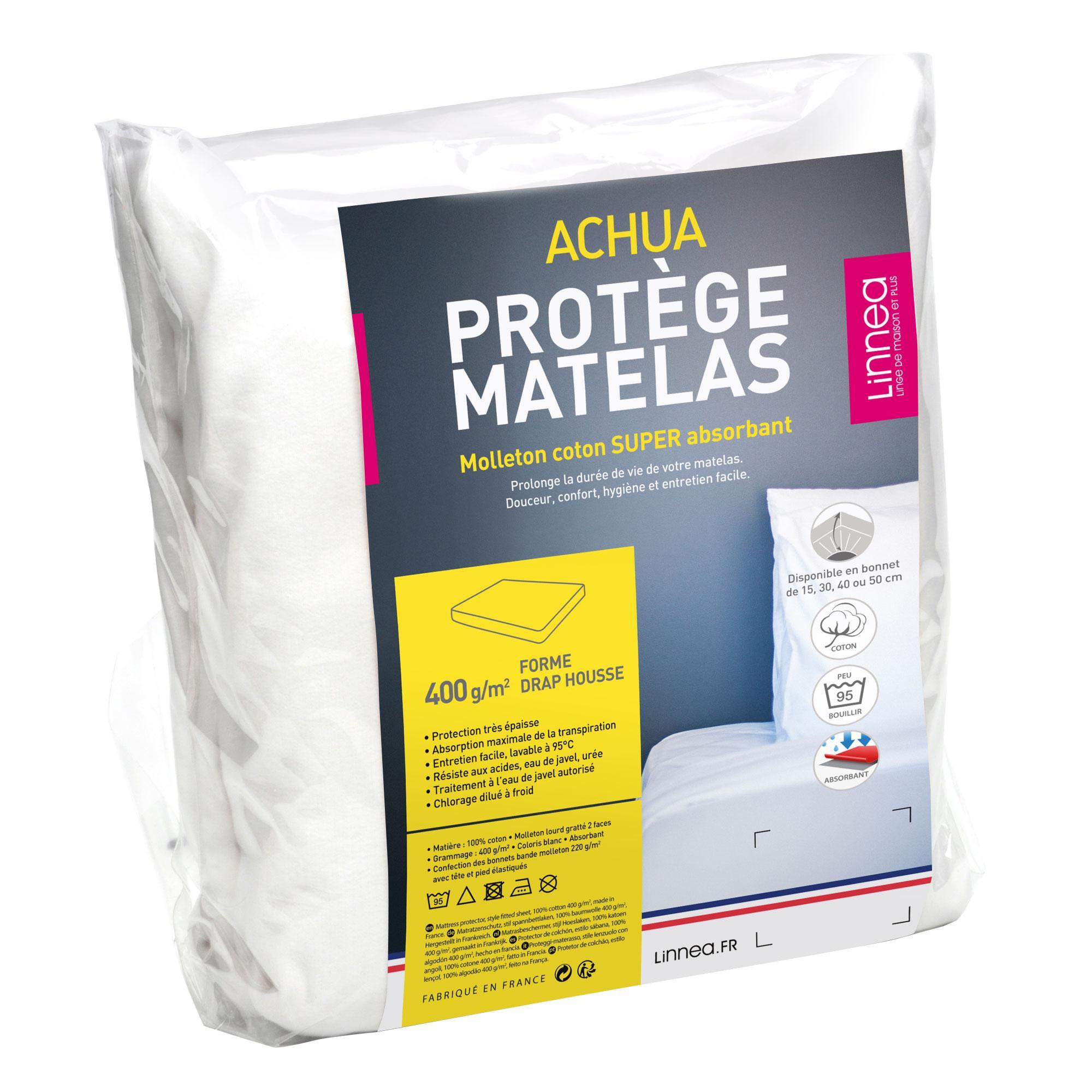 Protège Matelas 140x200 Cm ACHUA   Molleton 100% Coton 400 G/m2, Bonnet 30cm