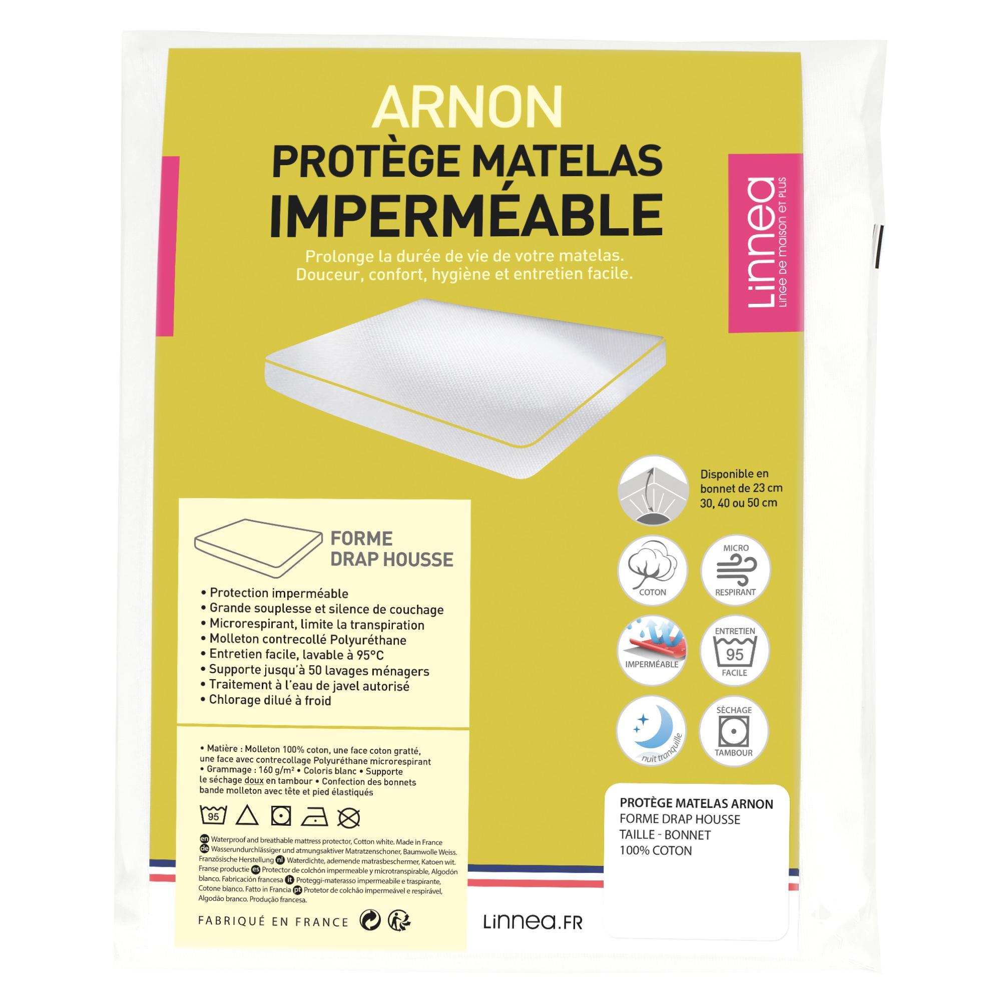 Protège Matelas Imperméable 120x200 Cm Bonnet 23cm Arnon Molleton 100 Coton Contrecollé Polyuréthane