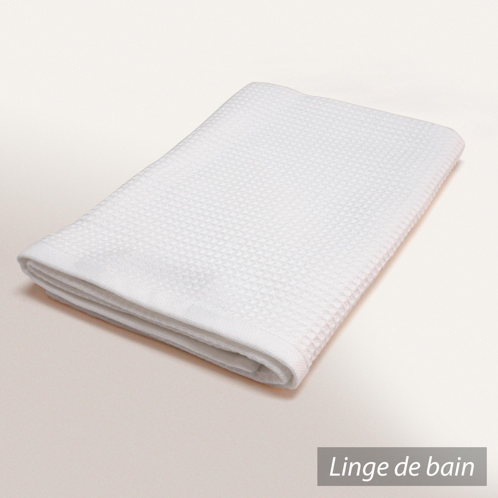 serviette de toilette 50x100 cm nid d 39 abeille pure waffle 300 g m blanc ebay. Black Bedroom Furniture Sets. Home Design Ideas
