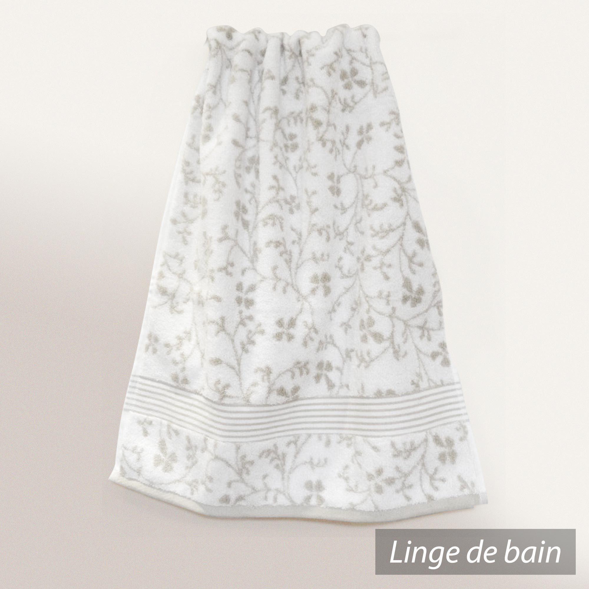 serviette de toilette 50x100cm uni coton vintage floral vert gris linnea vente de linge de maison. Black Bedroom Furniture Sets. Home Design Ideas