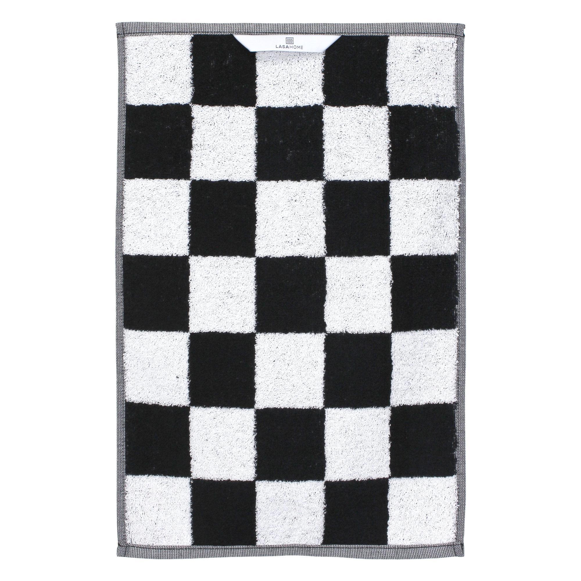 Serviette-invite-33x50-MONA-carreaux-blanc-amp-noir-100-coton-480g-m2