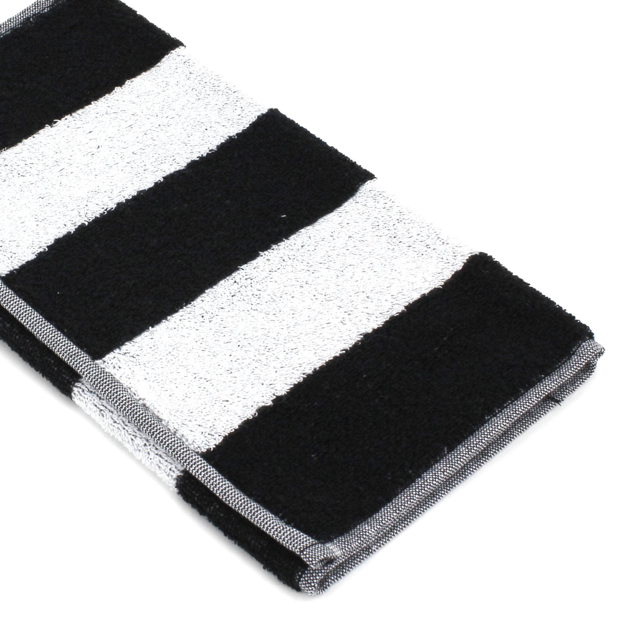 Serviette-invite-33x50-MONA-rayure-blanc-amp-noir-100-coton-480g-m2