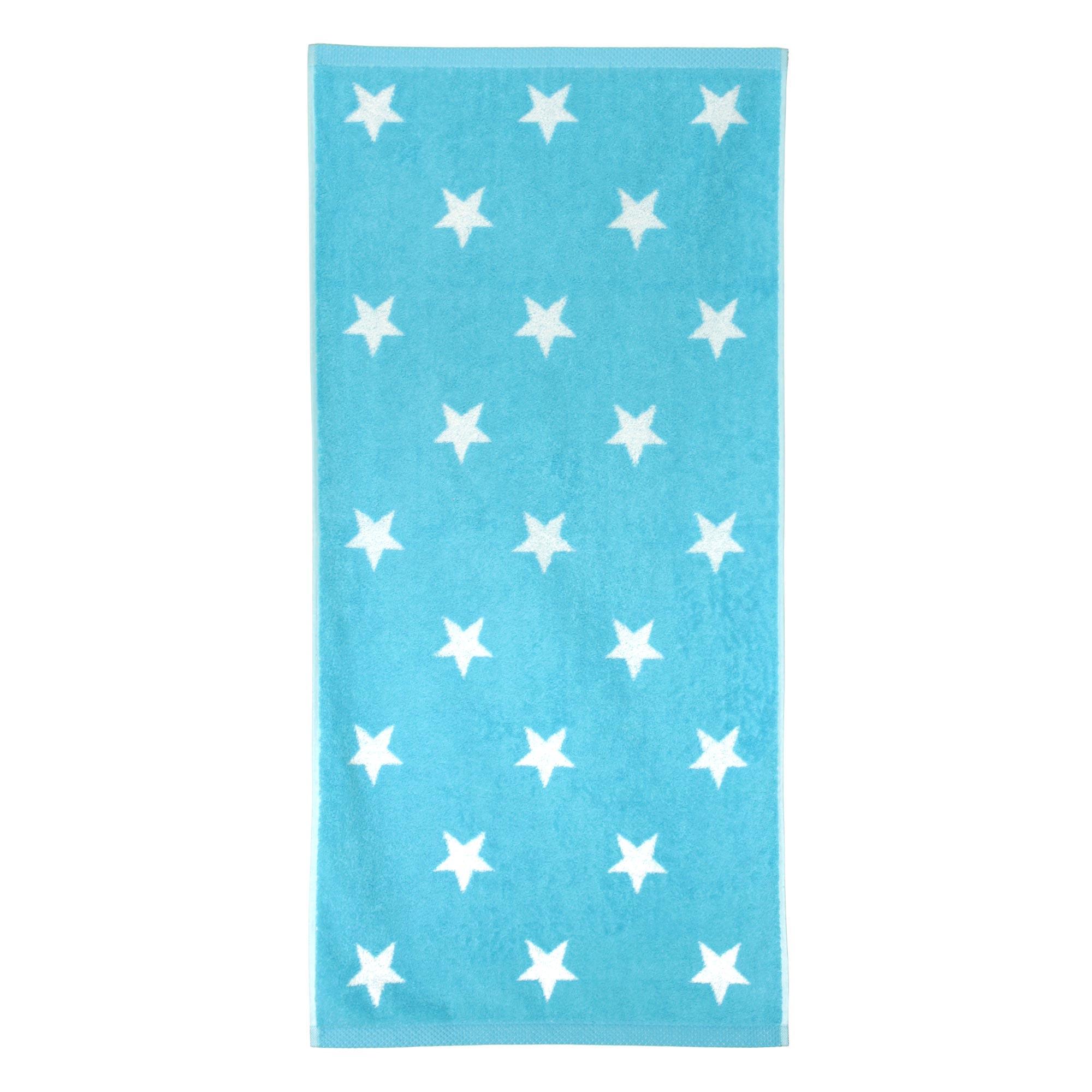 serviette de toilette 50x100 cm coton stars bleu turquoise linnea linge de maison et. Black Bedroom Furniture Sets. Home Design Ideas