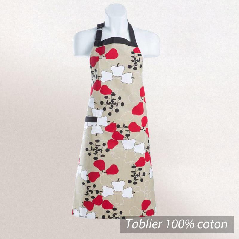 tablier de cuisine 72x86 cm cocina ecru motifs imprim s pommes rouges et blanches linnea vente. Black Bedroom Furniture Sets. Home Design Ideas