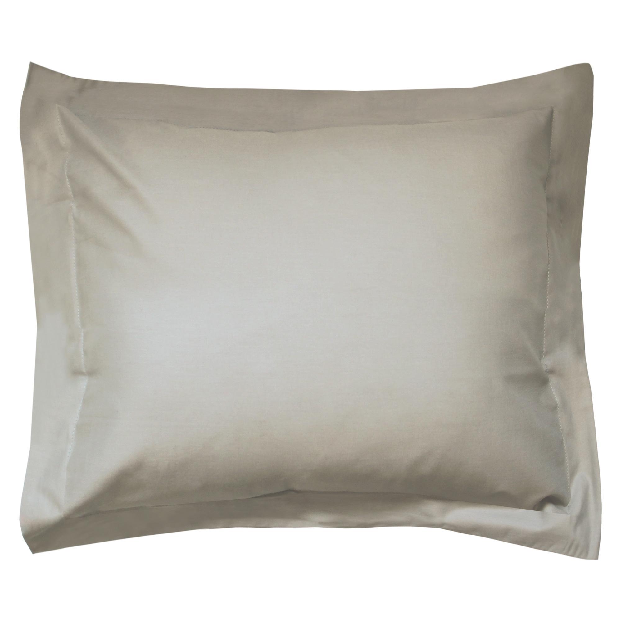 taie d 39 oreiller 100x80cm uni pur coton alto marron chamois linnea linge de maison et. Black Bedroom Furniture Sets. Home Design Ideas