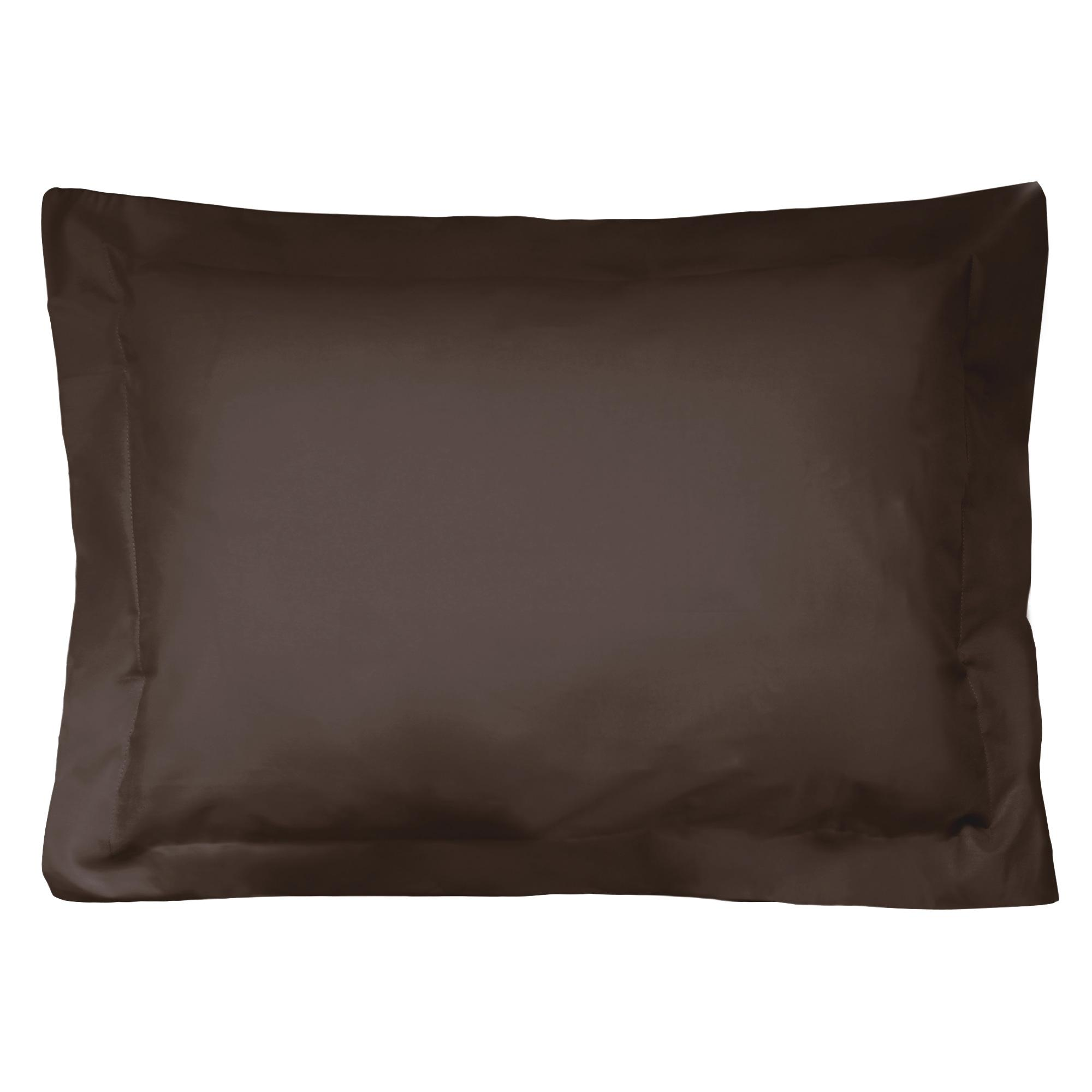 taie d 39 oreiller 60x40cm uni pur coton alto marron mangan se linnea linge de maison et. Black Bedroom Furniture Sets. Home Design Ideas