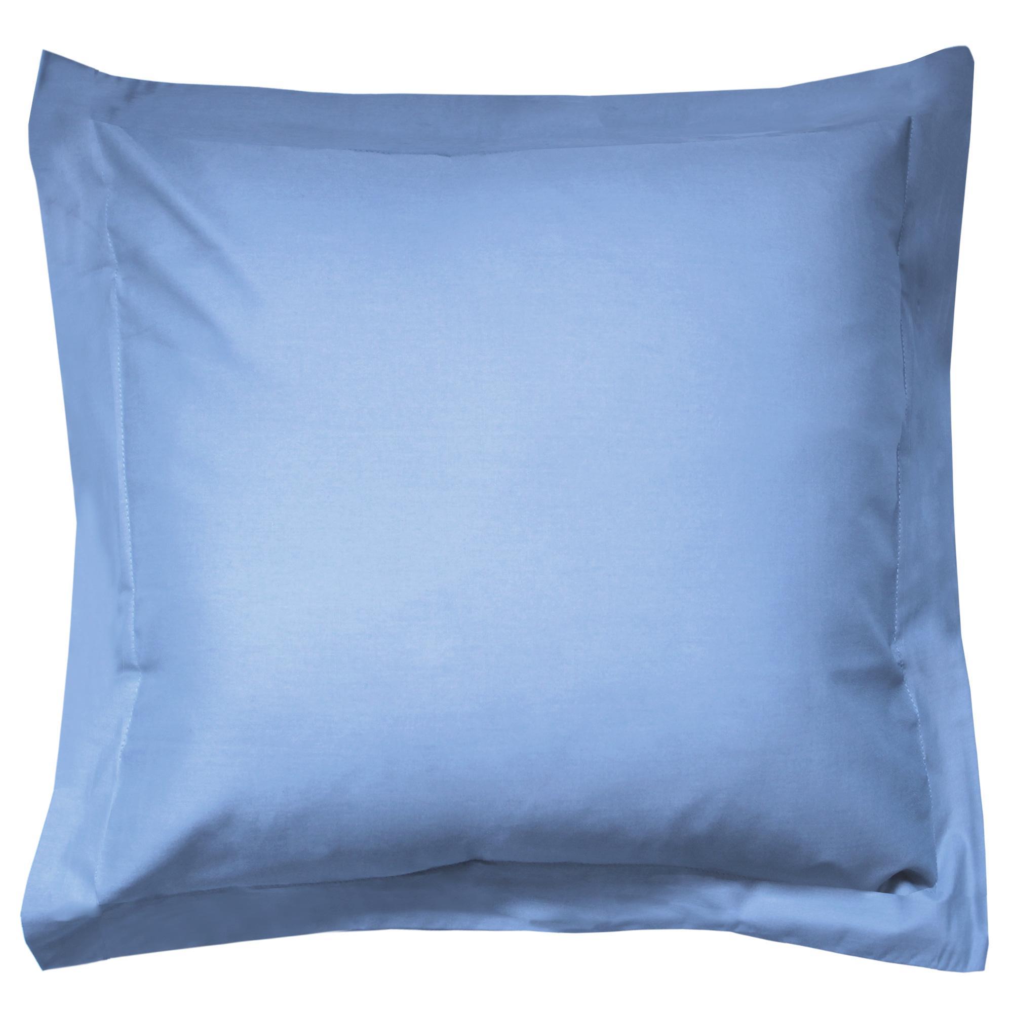 taie d 39 oreiller 80x80cm uni pur coton alto bleu belle ile linnea linge de maison et. Black Bedroom Furniture Sets. Home Design Ideas