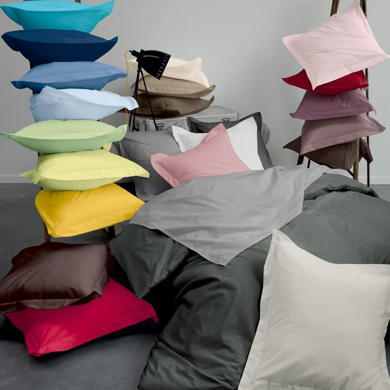 taie d 39 oreiller 80x80cm uni pur coton alto gris manhattan linnea vente de linge de maison. Black Bedroom Furniture Sets. Home Design Ideas