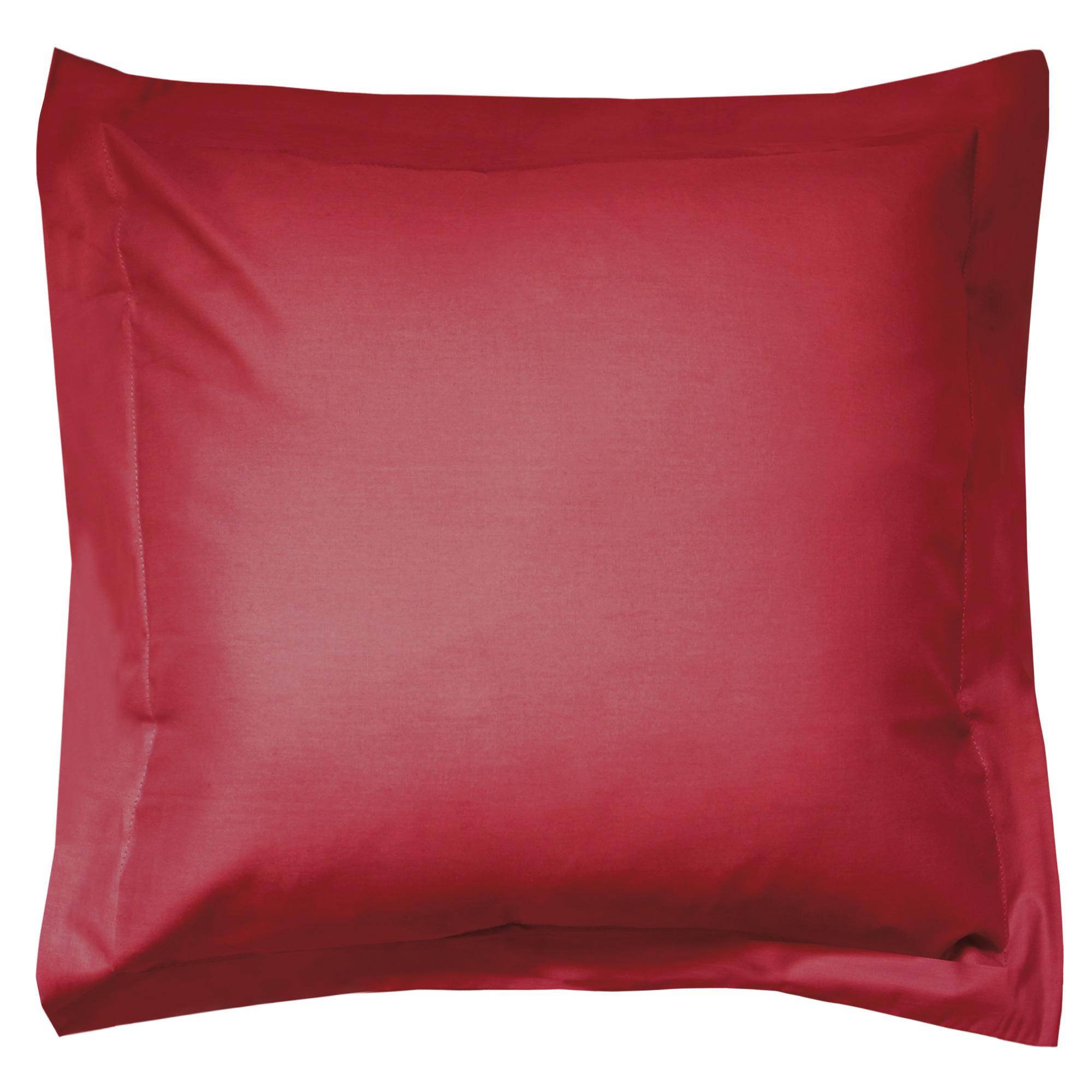taie d 39 oreiller 80x80cm uni pur coton alto rouge garance linnea linge de maison et. Black Bedroom Furniture Sets. Home Design Ideas