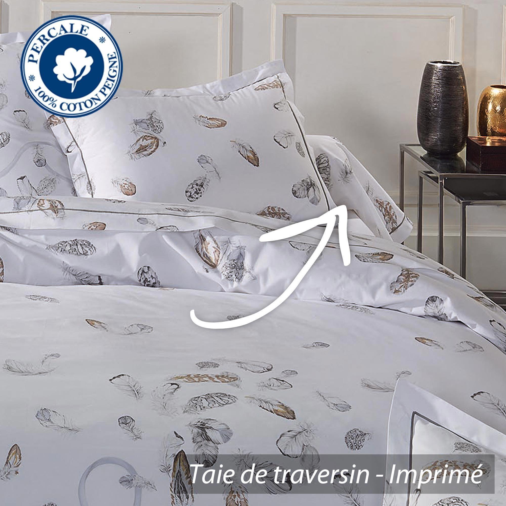 taie de traversin percale pur coton peign 200x43 cm plumes linnea vente de linge de maison. Black Bedroom Furniture Sets. Home Design Ideas