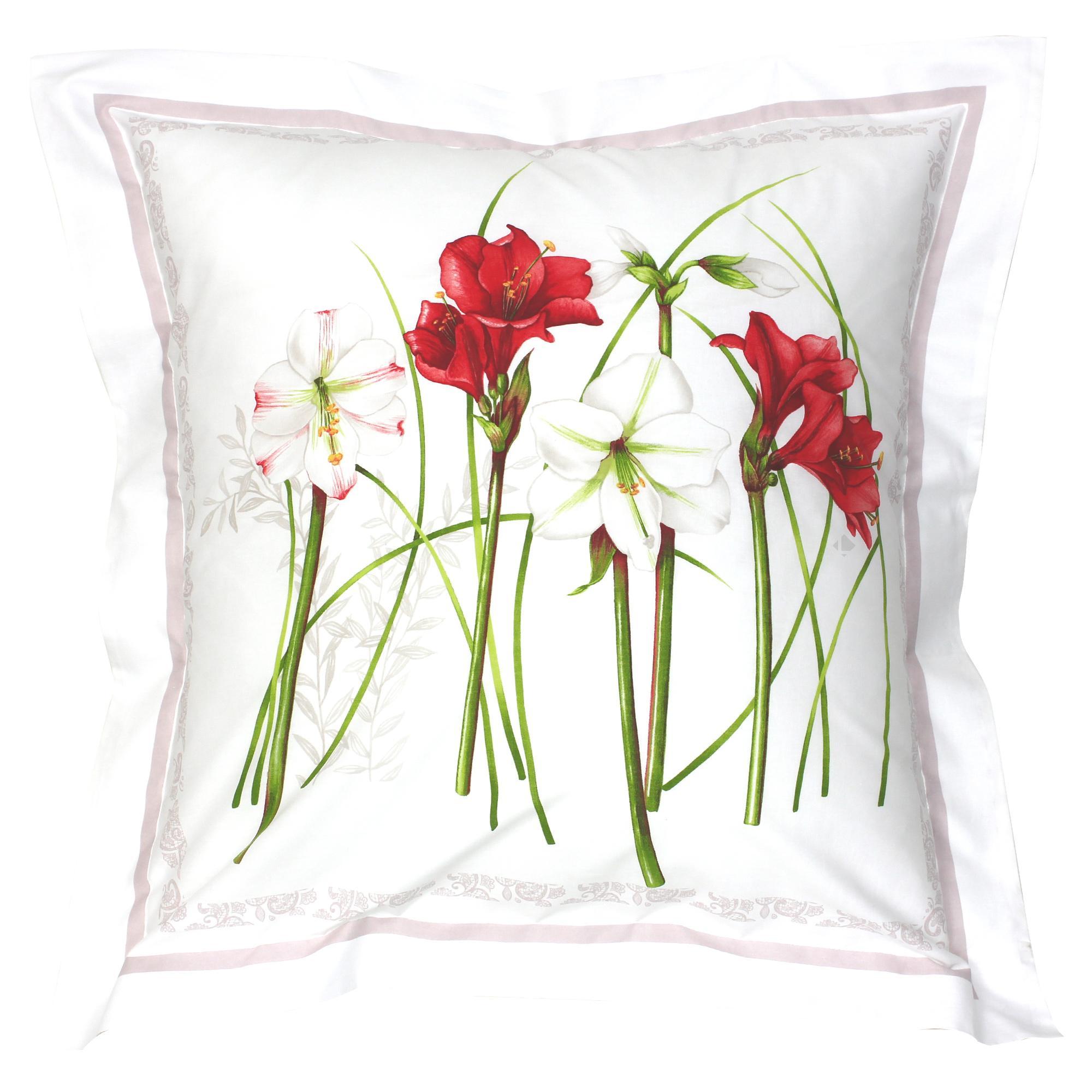 taie d 39 oreiller 65x65 cm 100 coton amaryllis blanc linnea linge de maison et. Black Bedroom Furniture Sets. Home Design Ideas