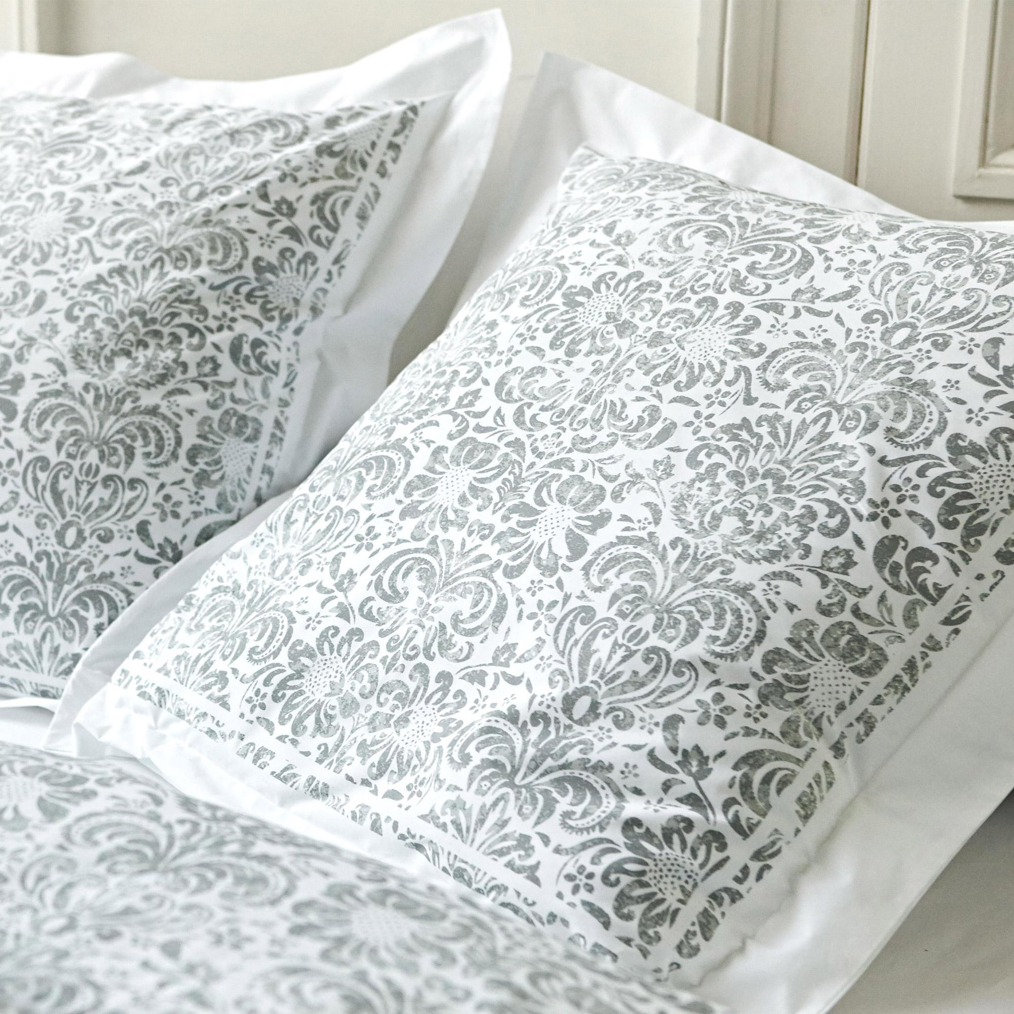 taie d 39 oreiller 65x65 cm percale pur coton amboise gris linnea linge de maison et. Black Bedroom Furniture Sets. Home Design Ideas