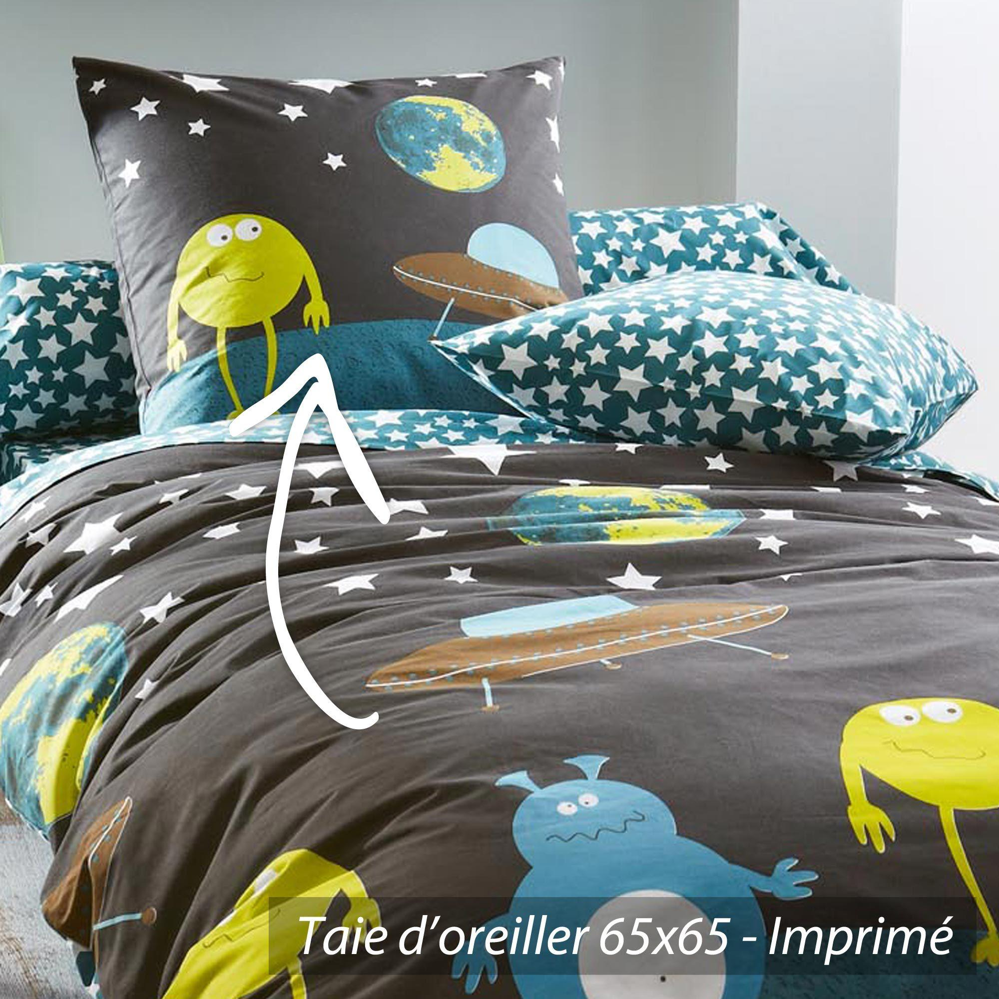 taie d 39 oreiller 65x65 cm monsters linnea vente de linge de maison. Black Bedroom Furniture Sets. Home Design Ideas