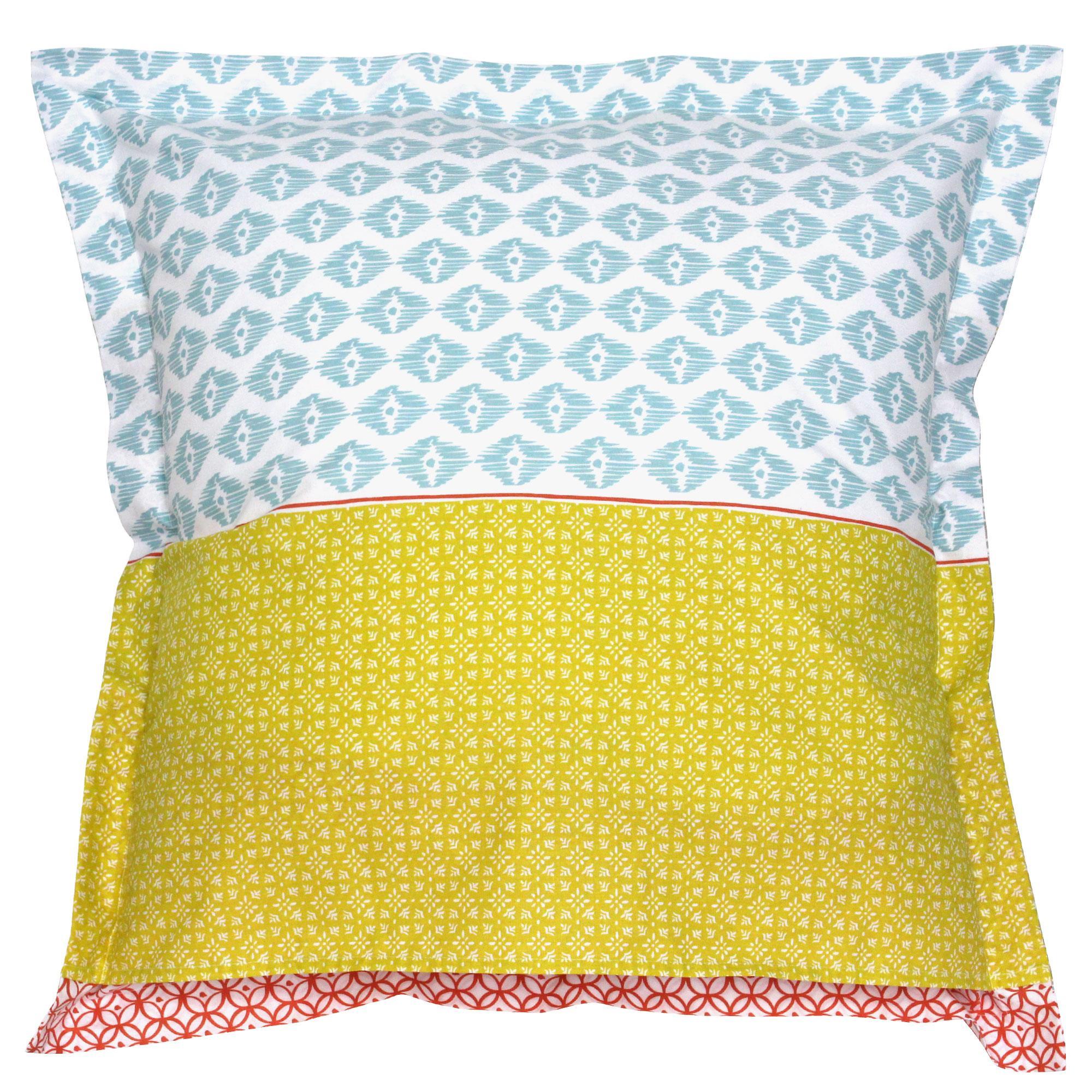 taie d 39 oreiller 65x65 cm 100 coton rio multicolore linnea linge de maison et. Black Bedroom Furniture Sets. Home Design Ideas