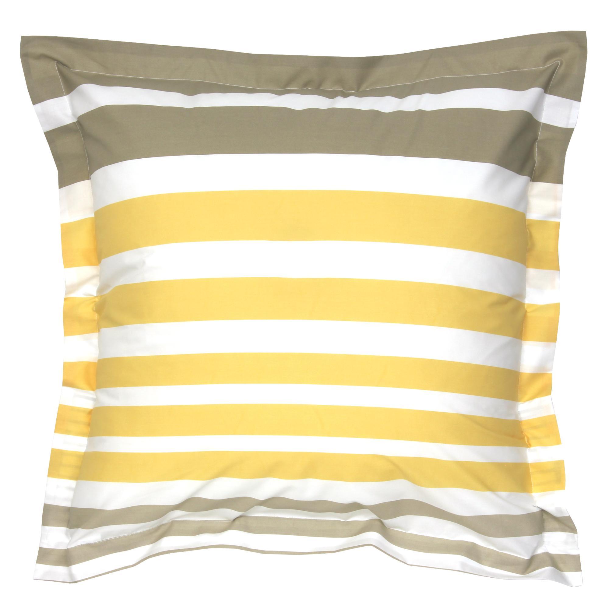 taie d 39 oreiller 65x65 percale pur coton stripe narcisse. Black Bedroom Furniture Sets. Home Design Ideas