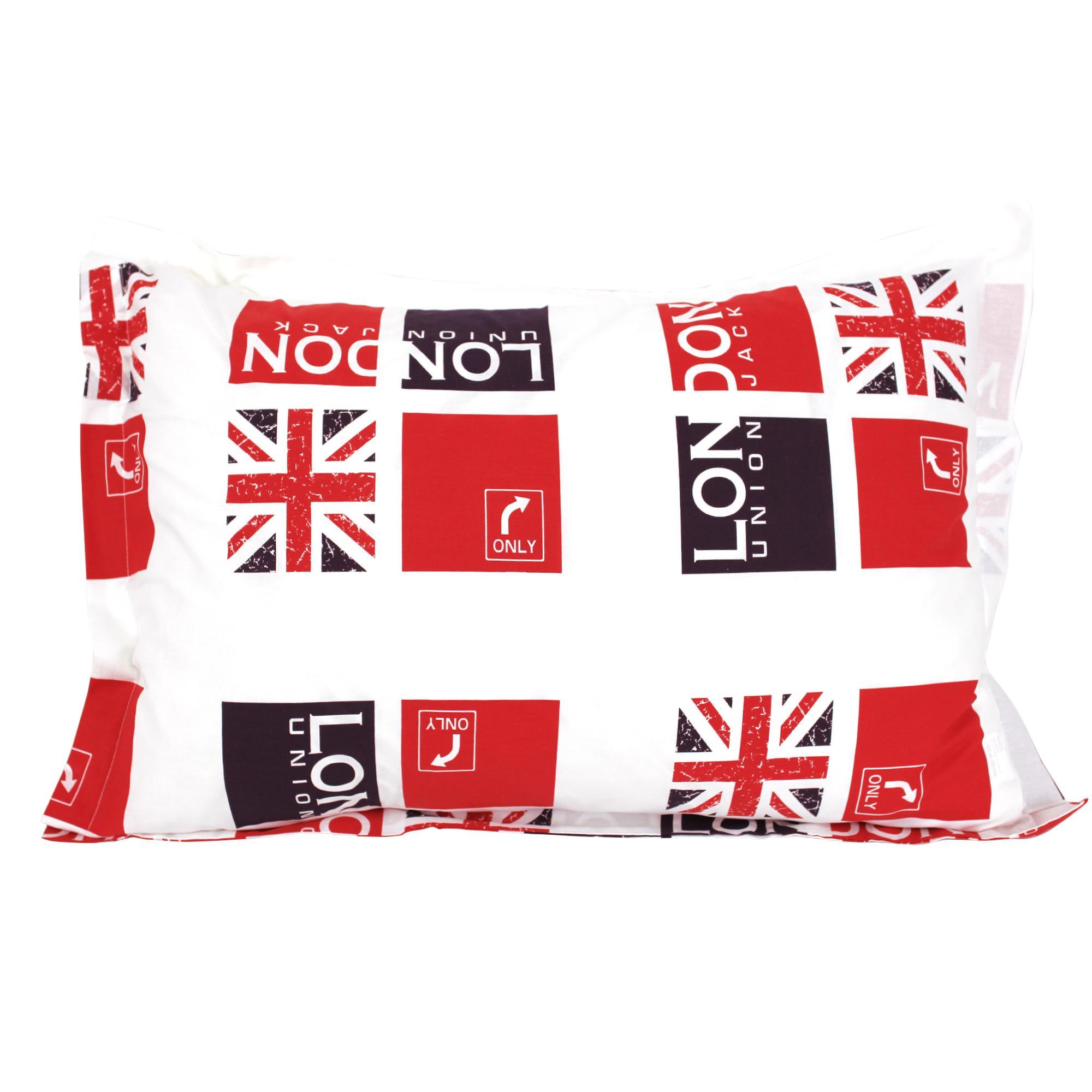 taie d 39 oreiller 70x50 cm london union jack linnea linge de maison et. Black Bedroom Furniture Sets. Home Design Ideas