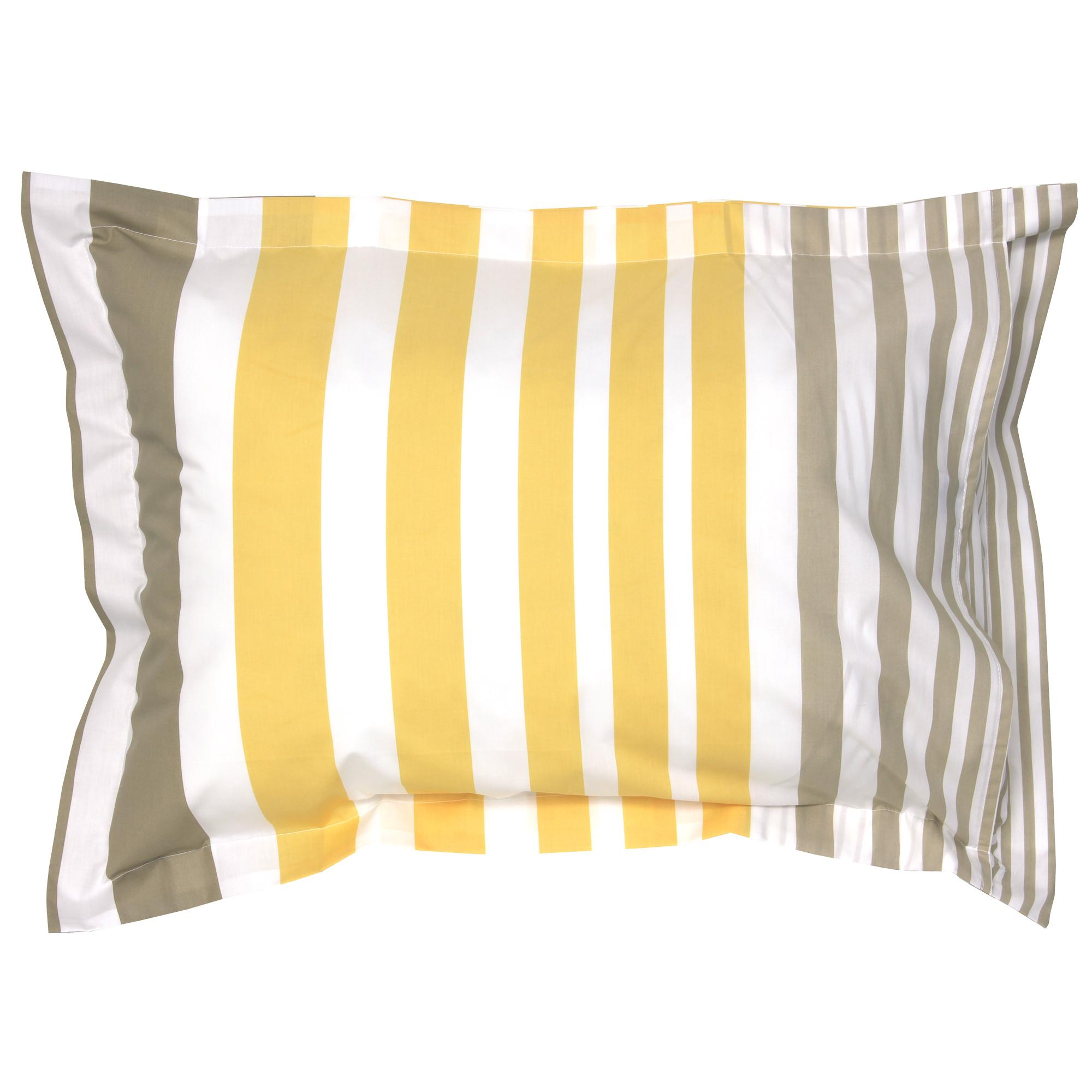 taie d 39 oreiller 70x50 cm percale pur coton stripe narcisse jaune linnea linge de maison et. Black Bedroom Furniture Sets. Home Design Ideas