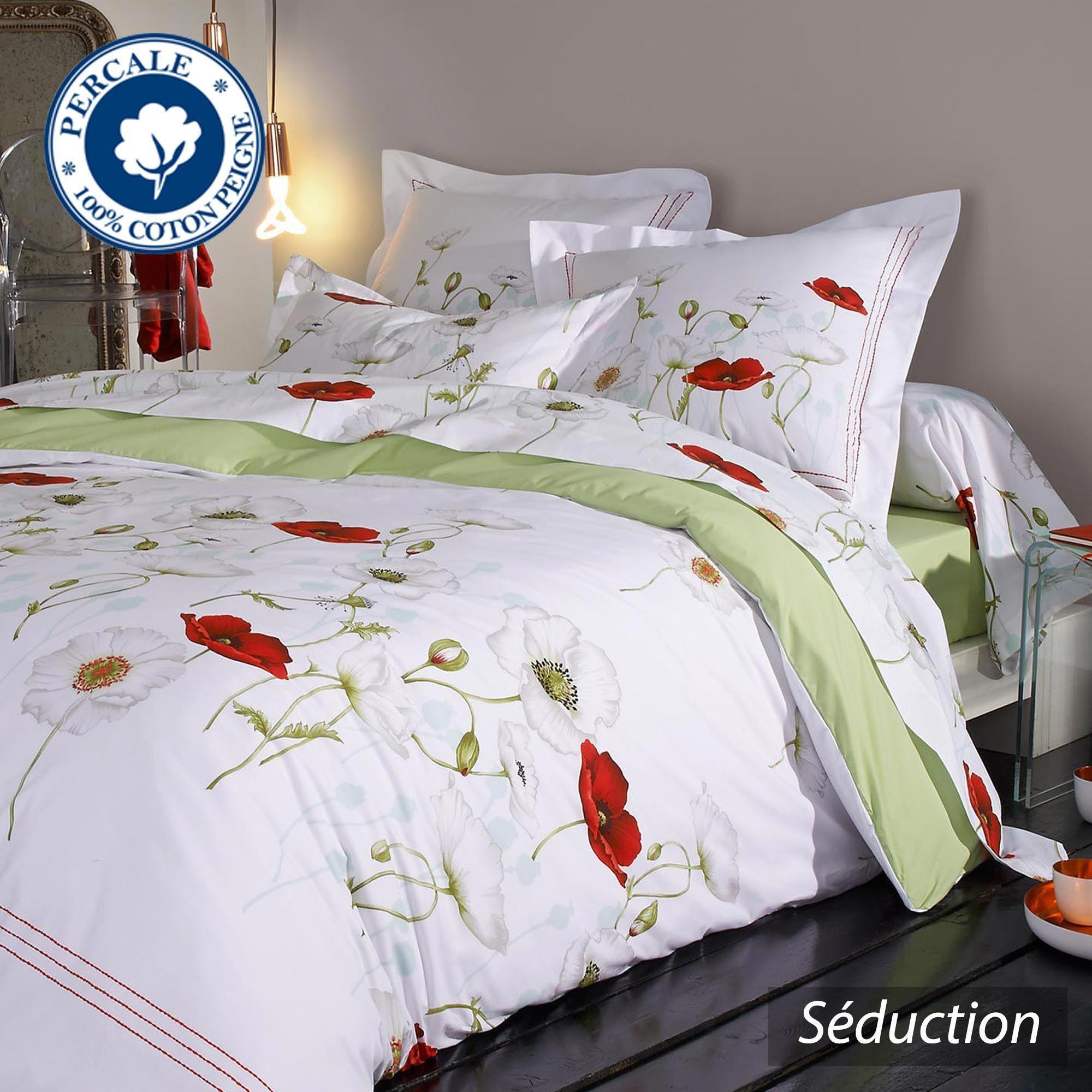 taie d 39 oreiller percale pur coton peign 65x65 cm seduction linnea vente de linge de maison. Black Bedroom Furniture Sets. Home Design Ideas