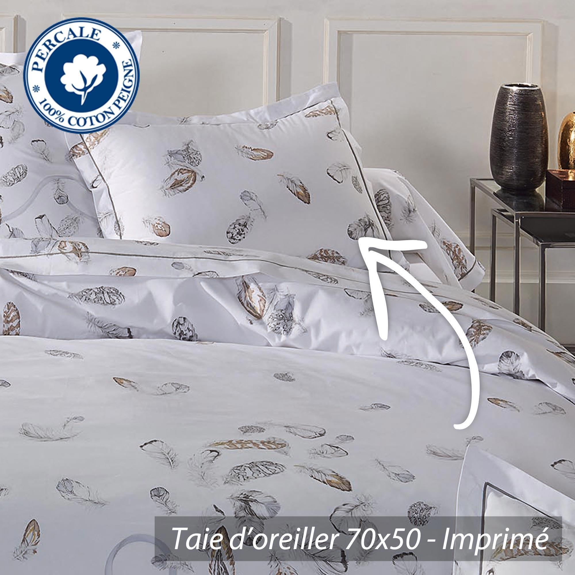 taie d 39 oreiller percale pur coton peign 70x50 cm plumes linnea vente de linge de maison. Black Bedroom Furniture Sets. Home Design Ideas
