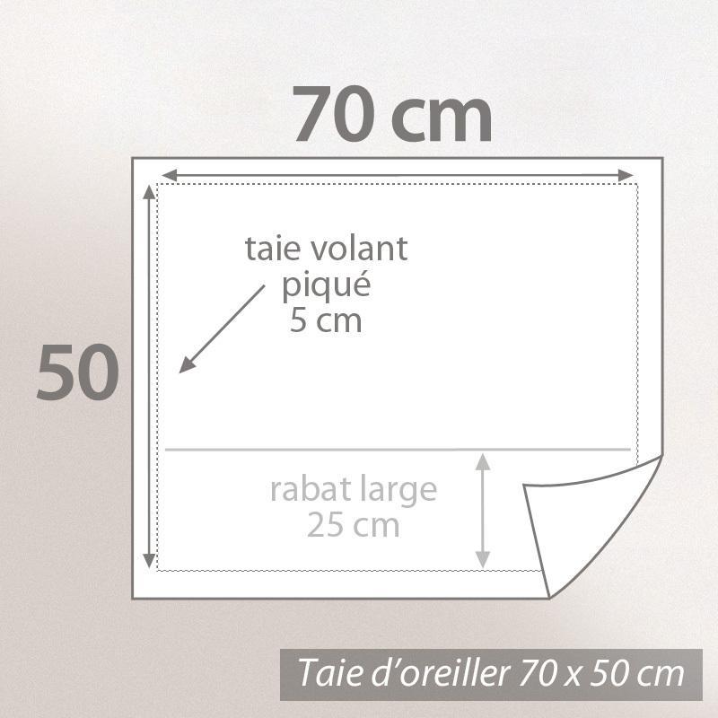 dimension oreiller Taie d'oreiller Percale pur coton peigné 70x50 cm STRIPE CAMELIA  dimension oreiller
