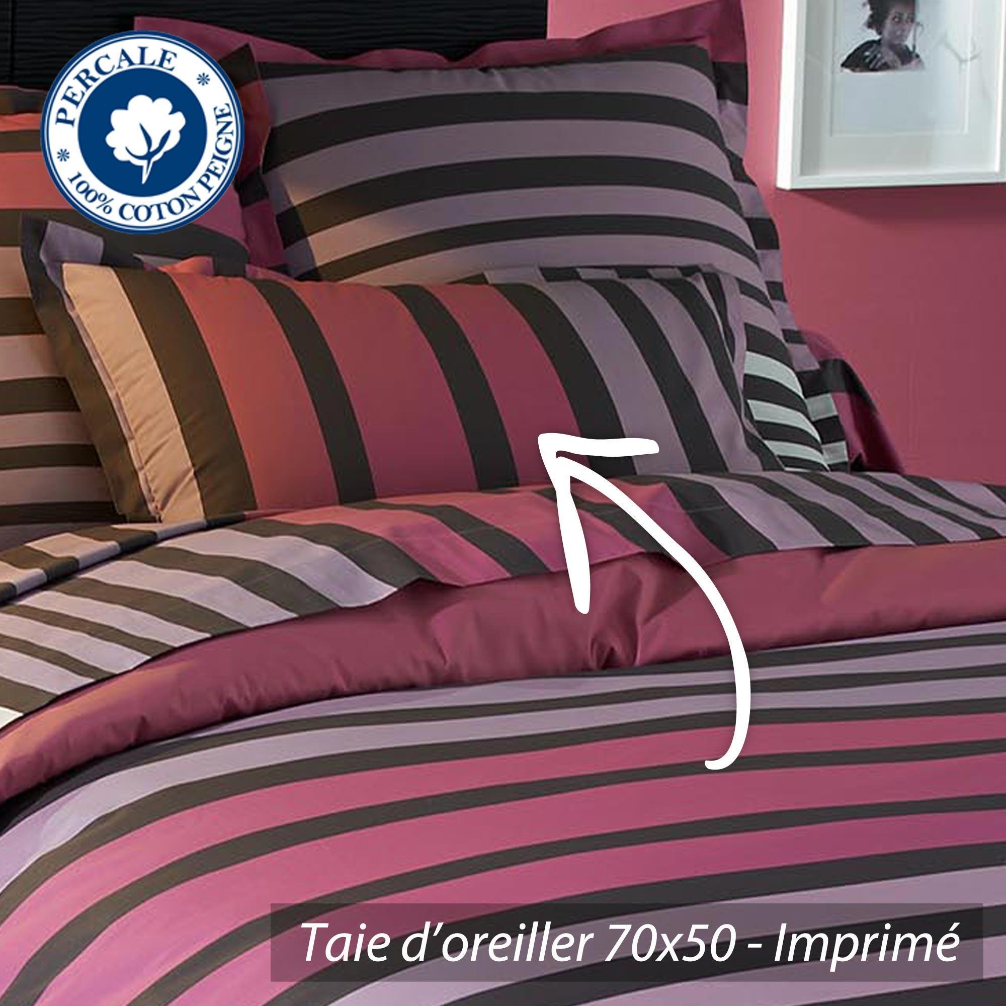 taie d 39 oreiller percale pur coton peign 70x50 cm stripe camelia linnea vente de linge de maison. Black Bedroom Furniture Sets. Home Design Ideas