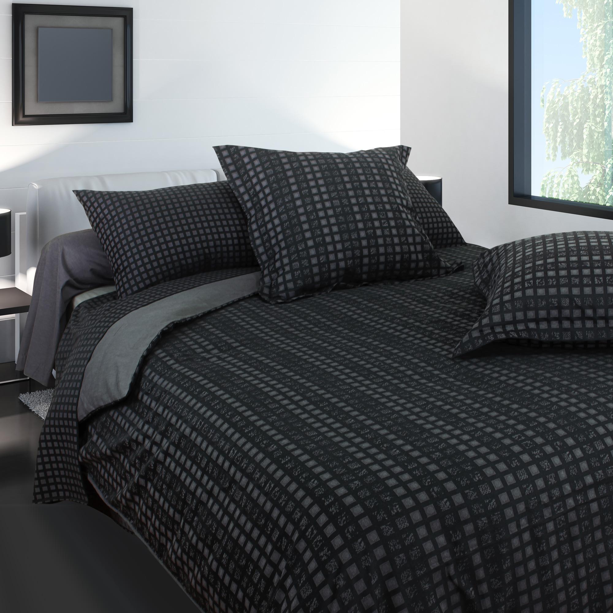 taie d 39 oreiller 70x50 satin de coton trocadero gris anthracite eur 21 13 picclick fr. Black Bedroom Furniture Sets. Home Design Ideas