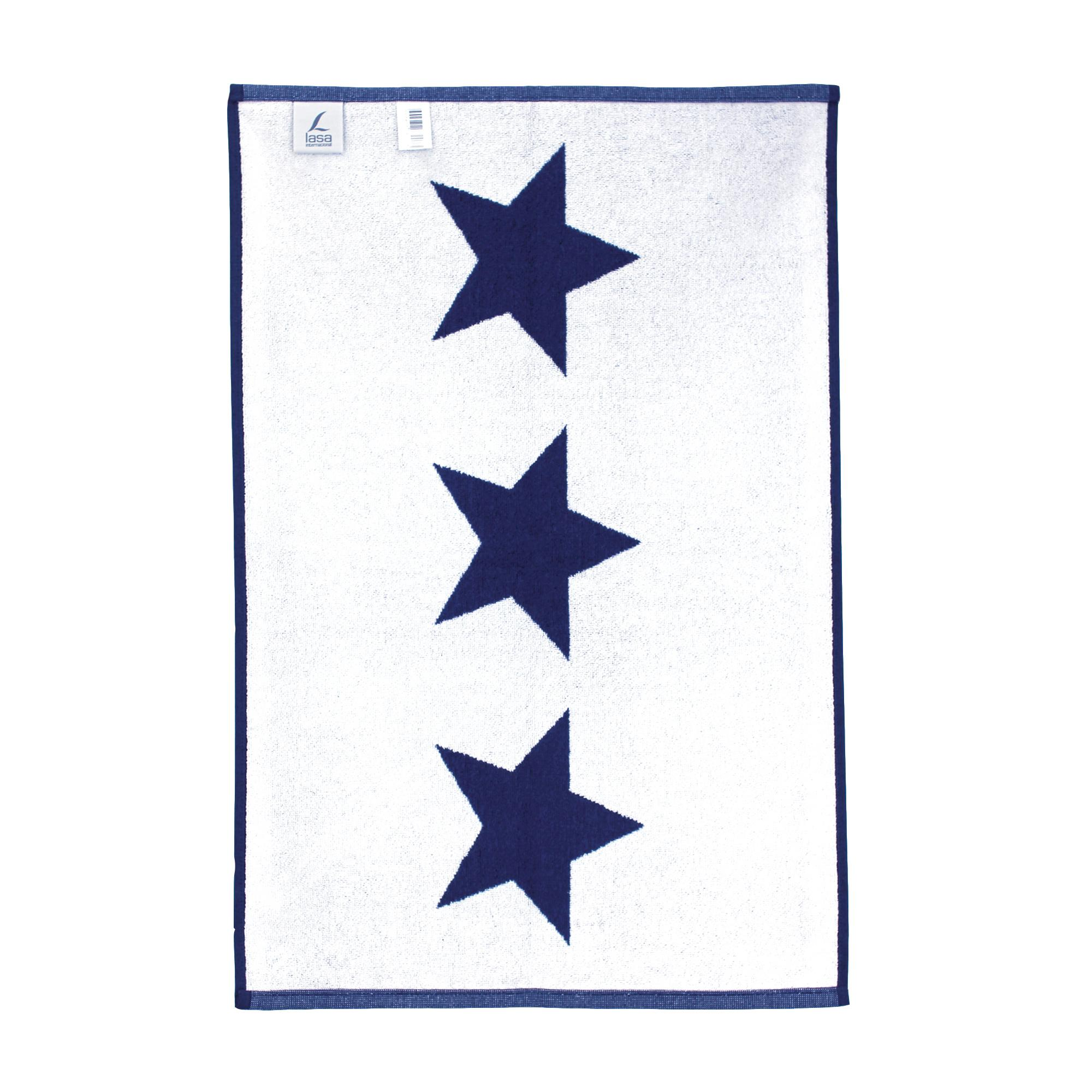 Tapis de bain 50x70 cm coton stars bleu marine linnea - Tapis salle de bain bleu marine ...