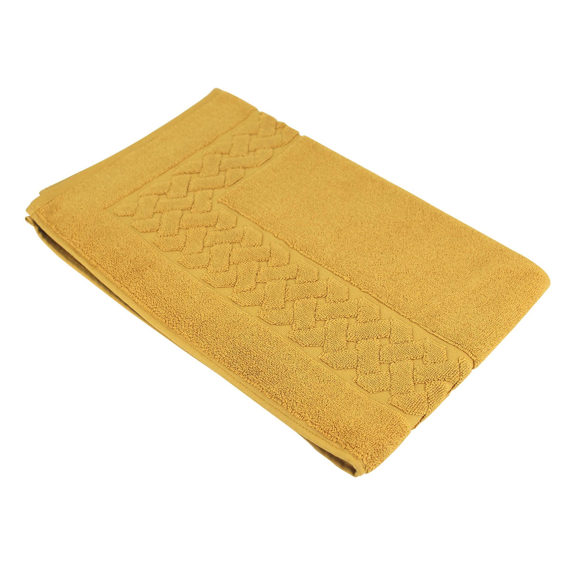tapis de bain 50x80 coton uni royal cresent jaune quartz linnea linge de maison et. Black Bedroom Furniture Sets. Home Design Ideas