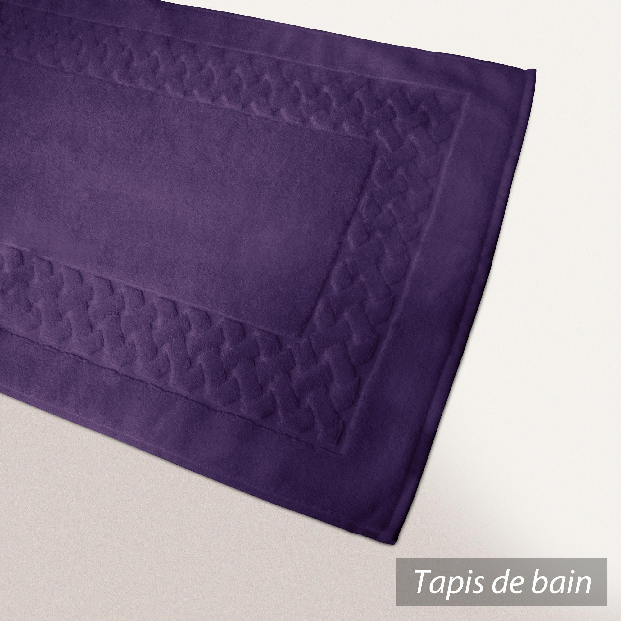 tapis de bain 50x80 coton uni royal cresent violet prune linnea vente de linge de maison. Black Bedroom Furniture Sets. Home Design Ideas