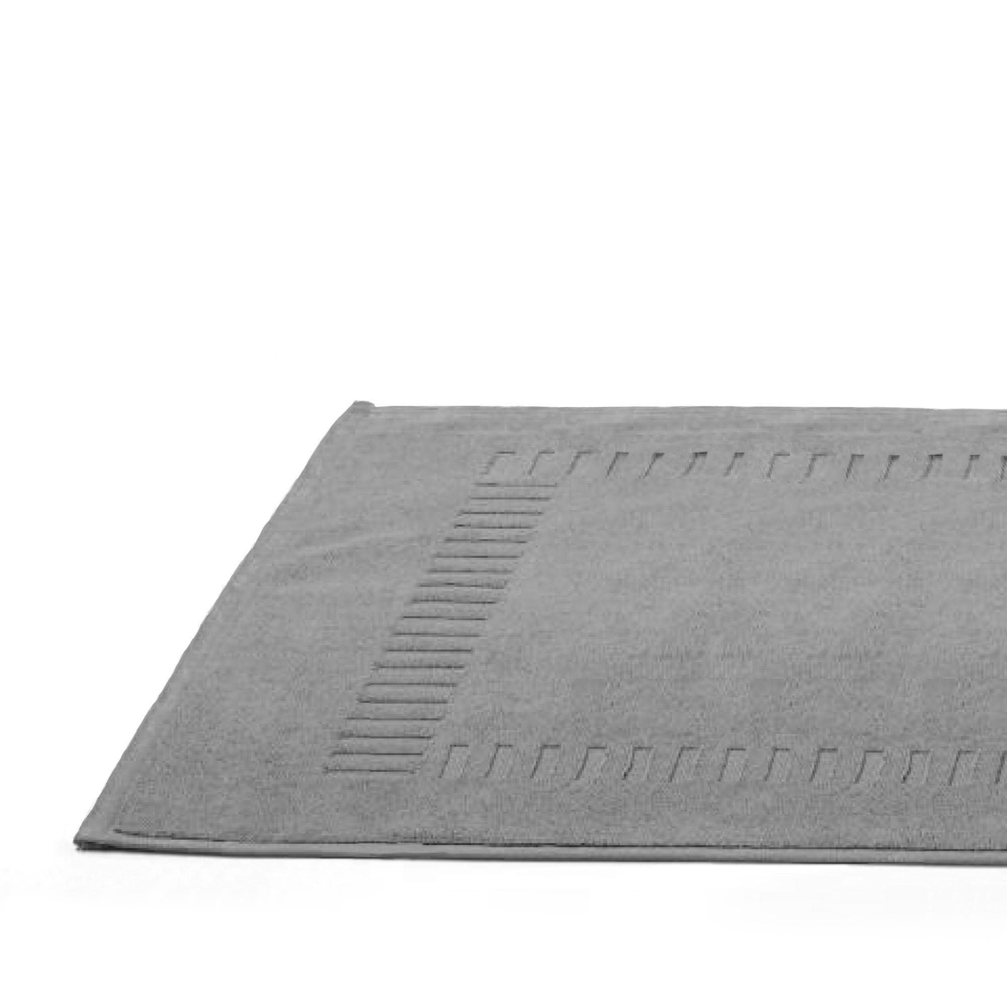 tapis de bain 50x70cm coton uni pure gris argent linnea. Black Bedroom Furniture Sets. Home Design Ideas