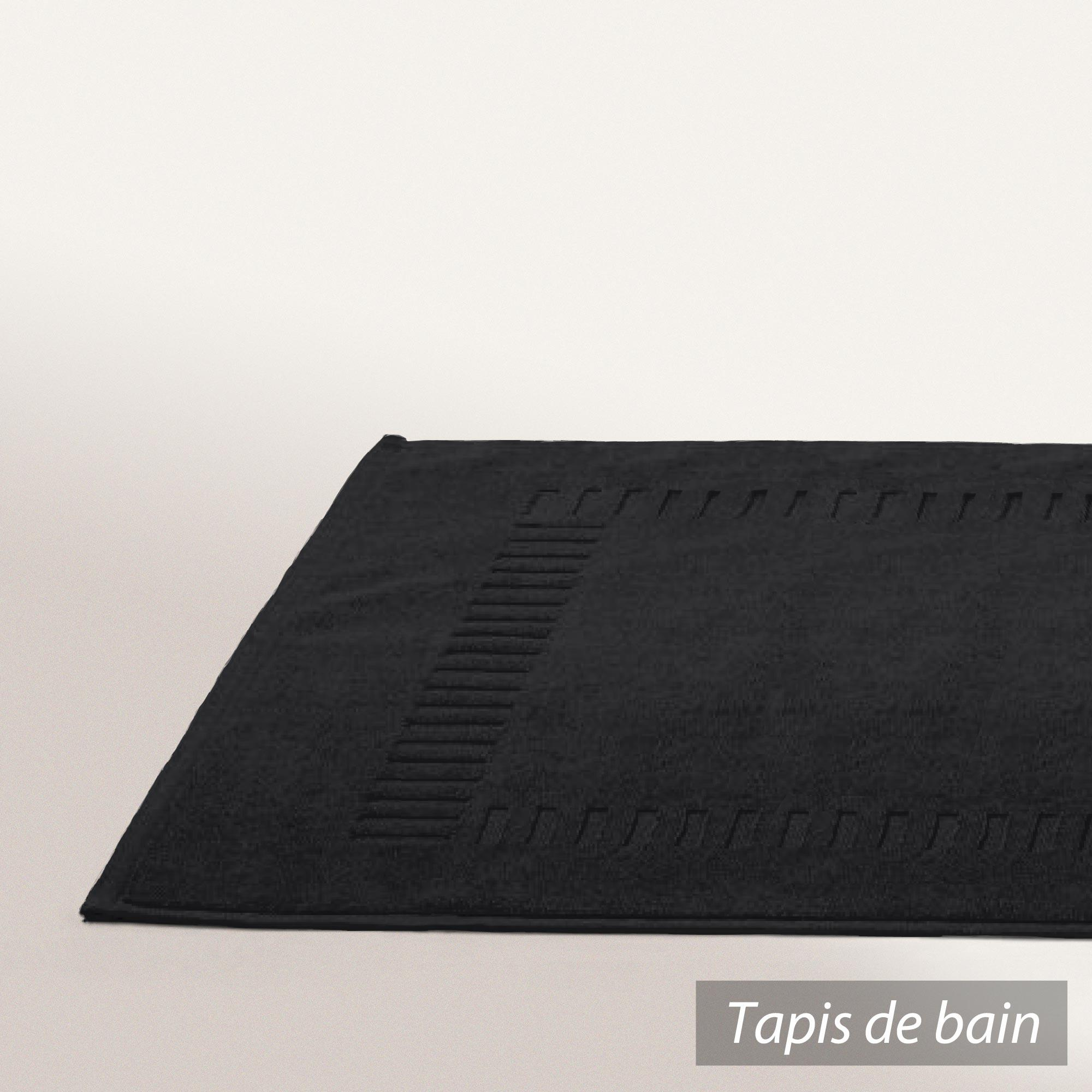 tapis de bain 50x70cm coton uni pure noir linnea vente de linge de maison. Black Bedroom Furniture Sets. Home Design Ideas