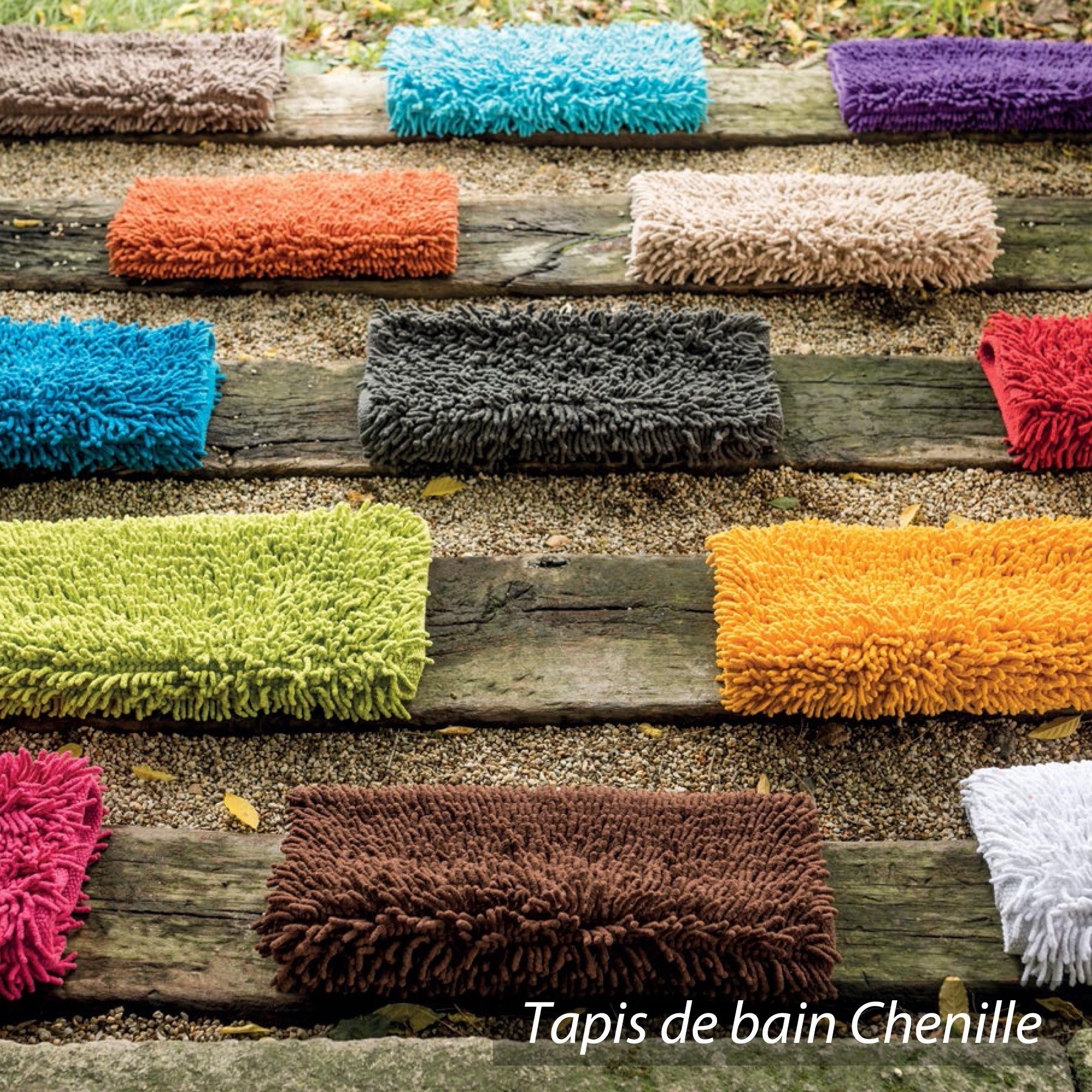 Tapis De Bain 50x80cm Uni Coton Chenille Bleu Mer Linnea Vente De Linge De Maison